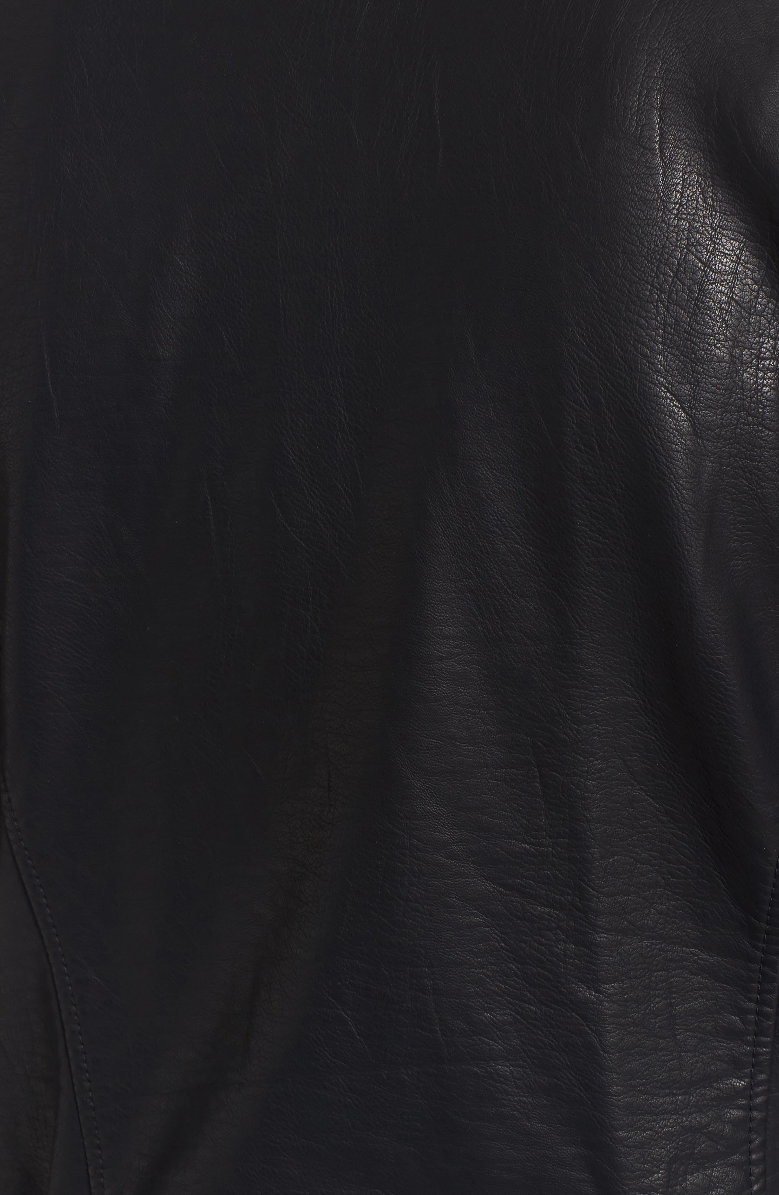 Ezmerelda Faux Leather Moto Jacket,                             Alternate thumbnail 6, color,                             001