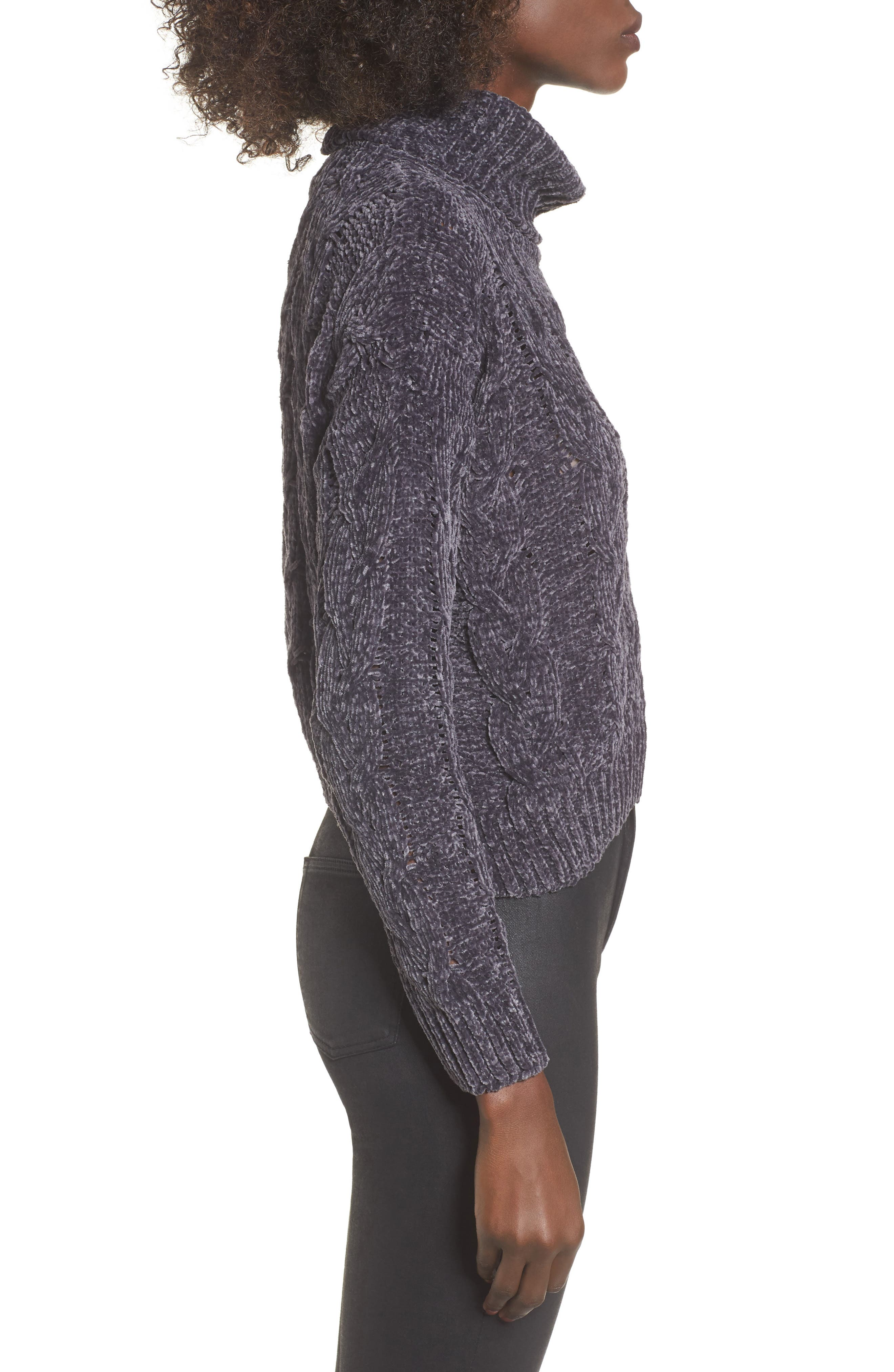 Chenille Turtleneck Sweater,                             Alternate thumbnail 3, color,                             020