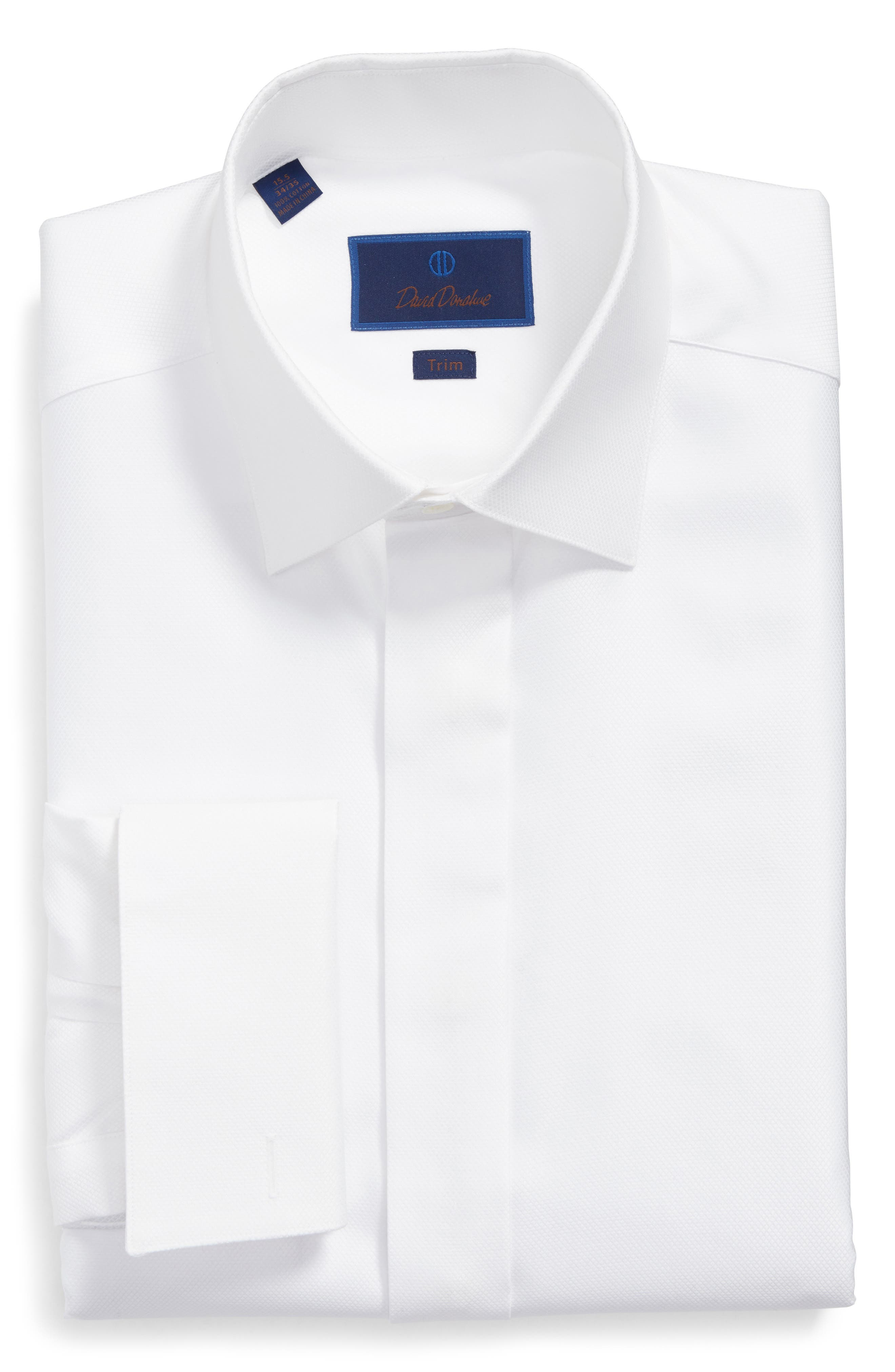Trim Fit French Cuff Tuxedo Shirt,                         Main,                         color, WHITE