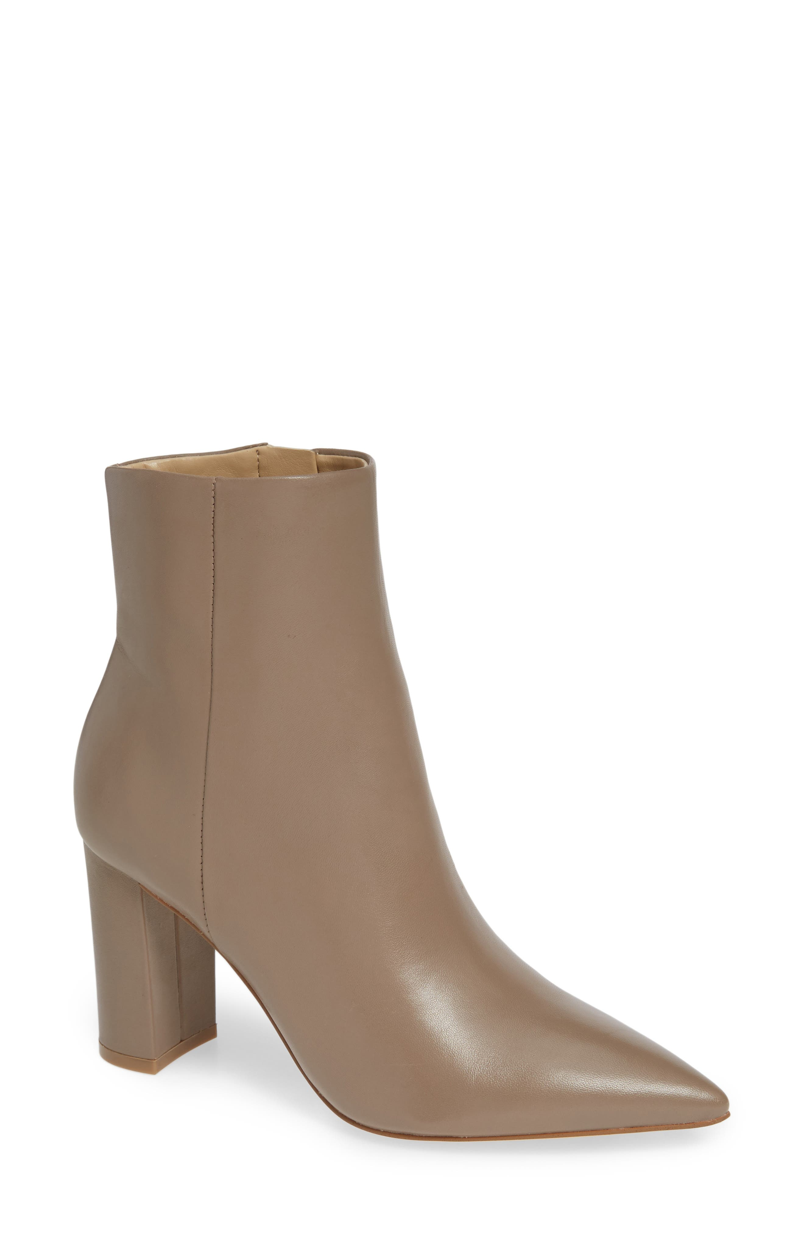 MARC FISHER LTD,                              Ulani Pointy Toe Bootie,                             Main thumbnail 1, color,                             TAUPE LEATHER