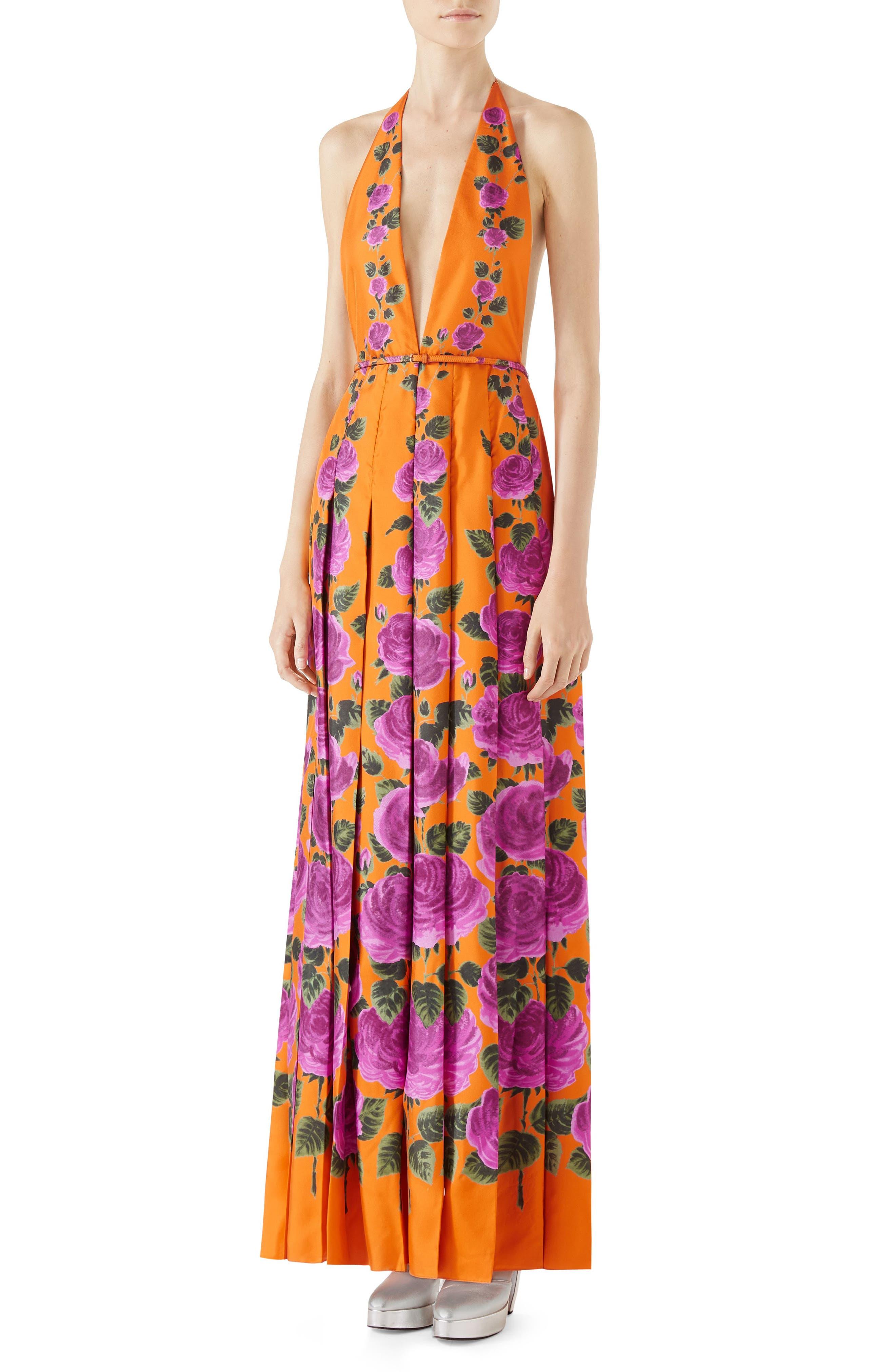 Rose Print Silk Halter Maxi Dress,                         Main,                         color, ORANGE-PINK