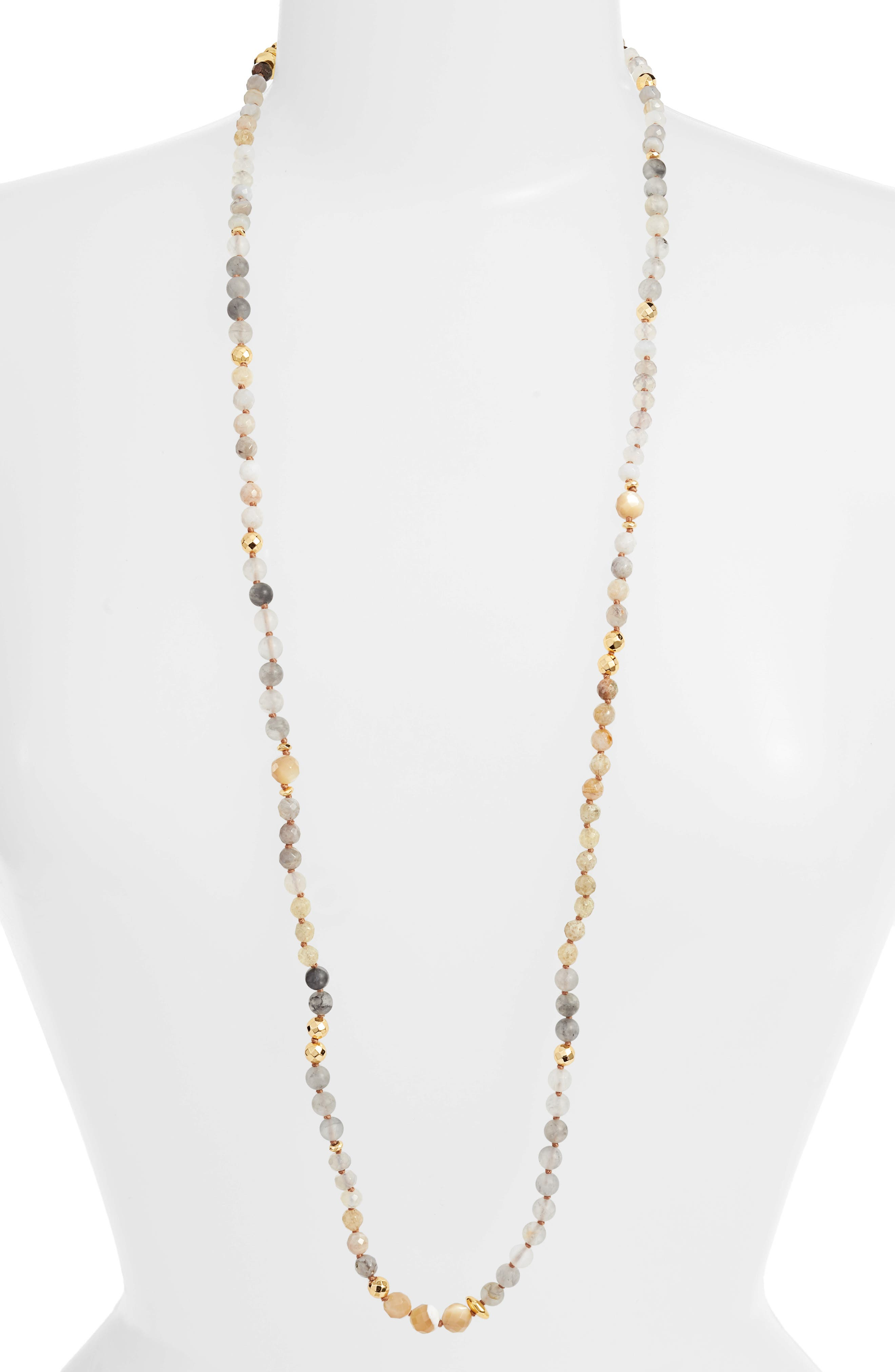 CHAN LUU Mixed Semiprecious Stone Station Necklace in Grey Mix