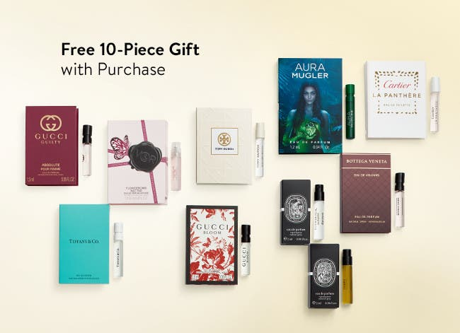 Free 10-piece fragrance gift with purchase.