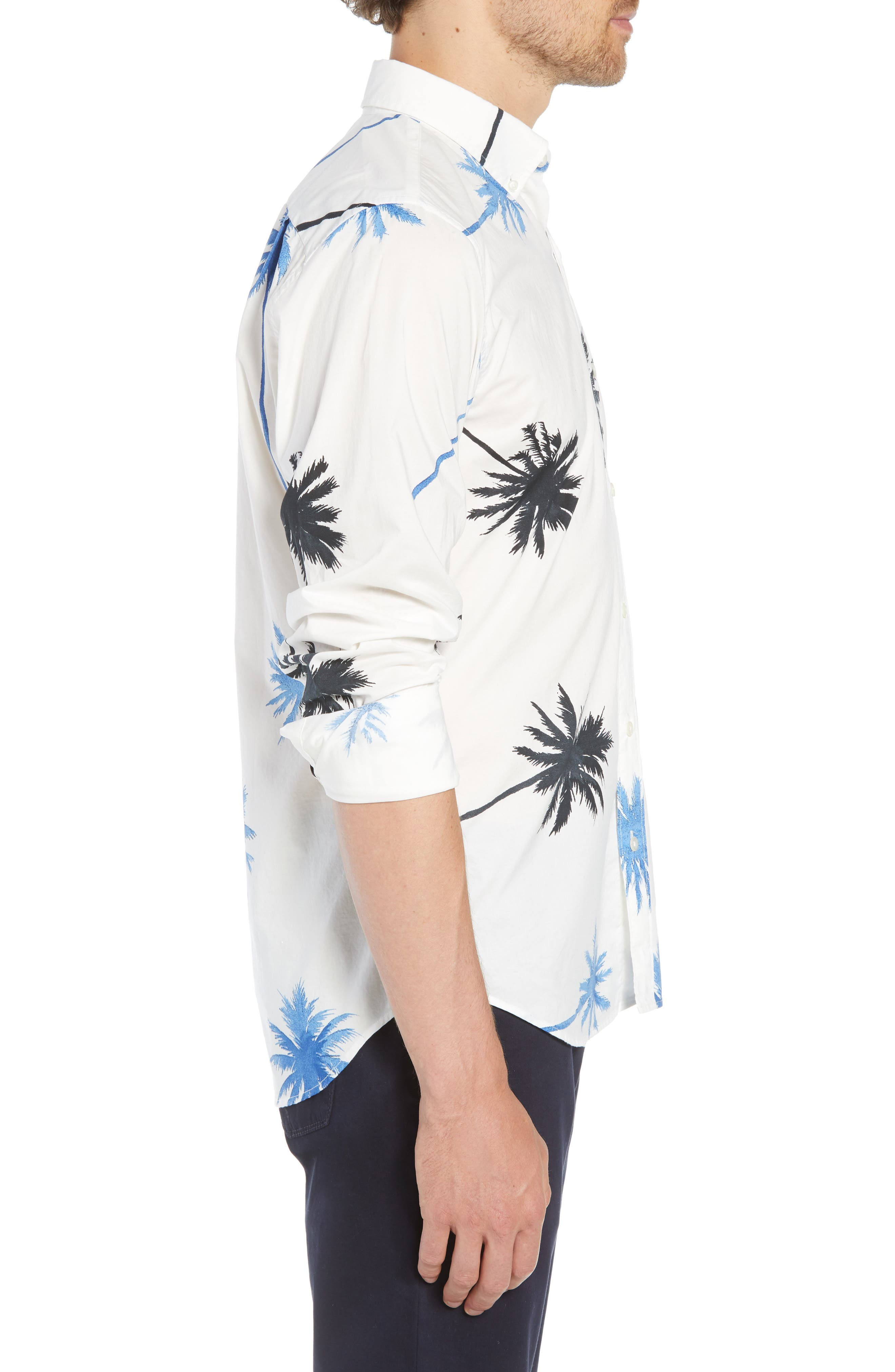 Summerweight Slim Fit Palm Print Sport Shirt,                             Alternate thumbnail 4, color,                             PALM TREE VIEW - GALAXY BLUE