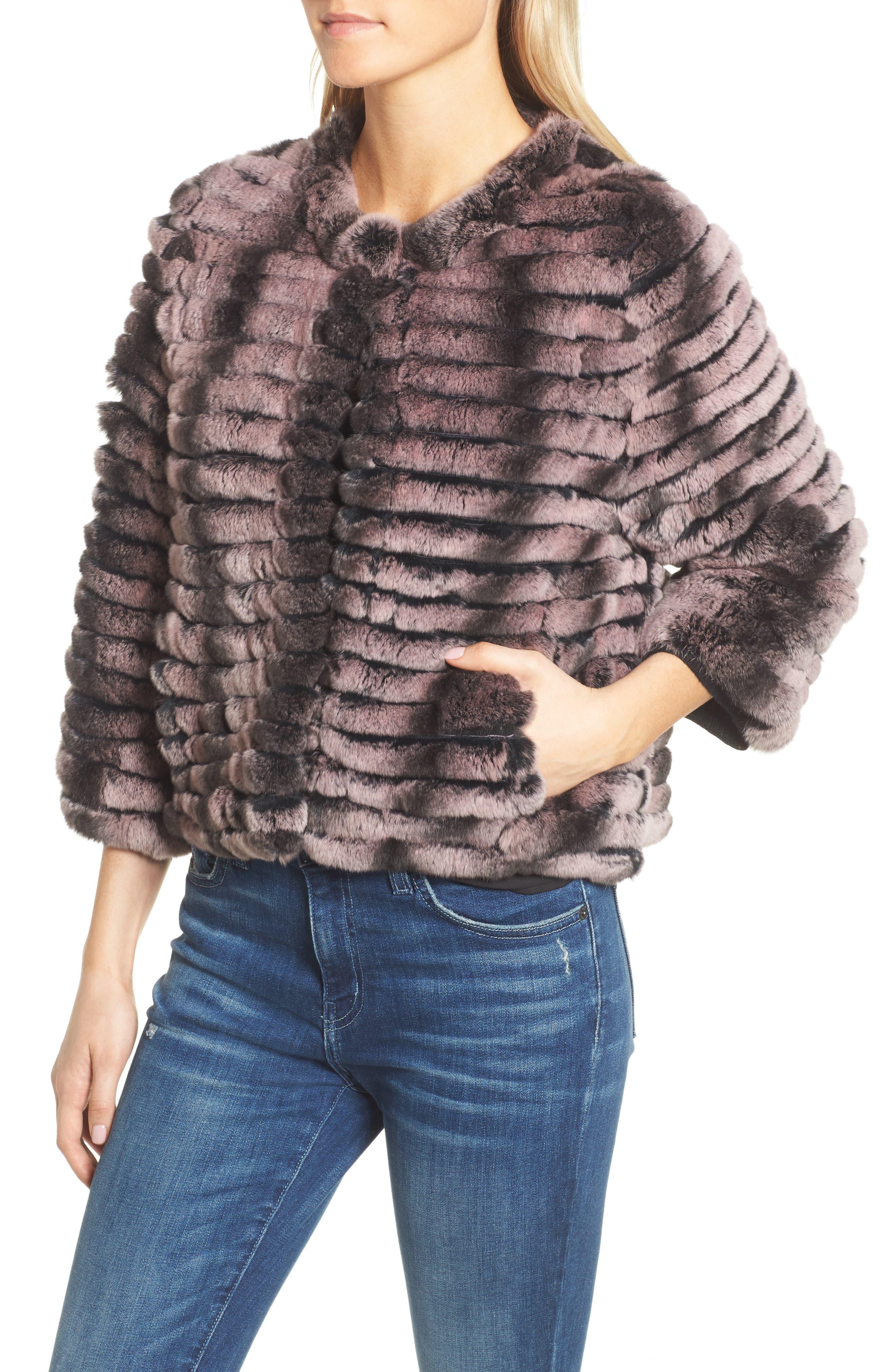 Genuine Rabbit Fur Crop Jacket,                             Alternate thumbnail 8, color,