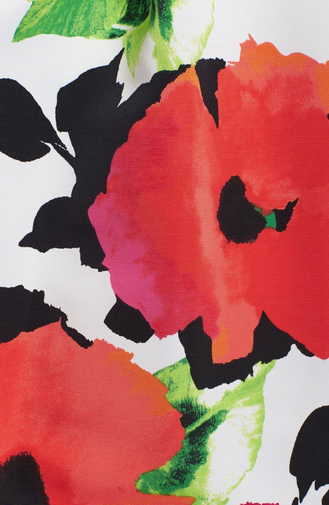 Floral Print Faille Fit & Flare Dress,                             Alternate thumbnail 4, color,                             950