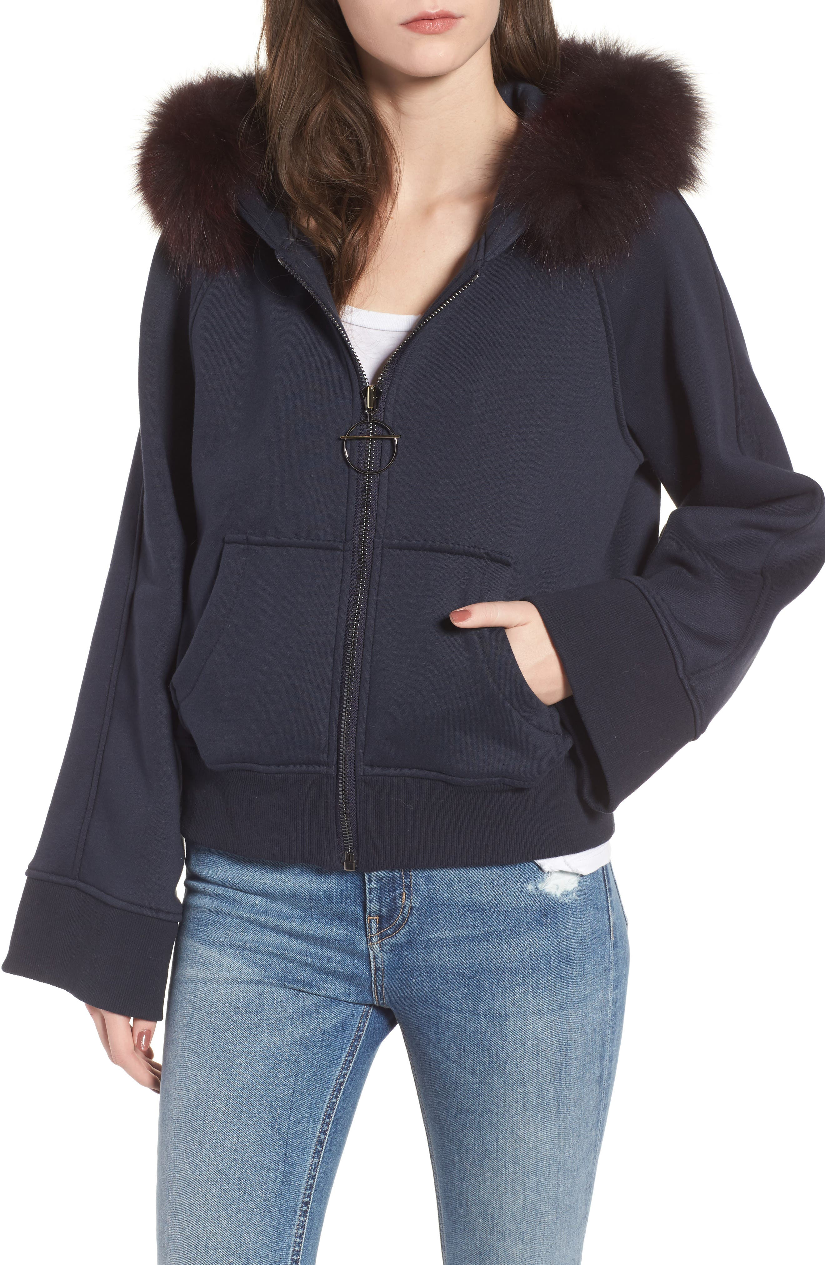 BAGATELLE.CITY The Luxe Hooded Jacket with Genuine Fox Fur Trim,                             Main thumbnail 2, color,