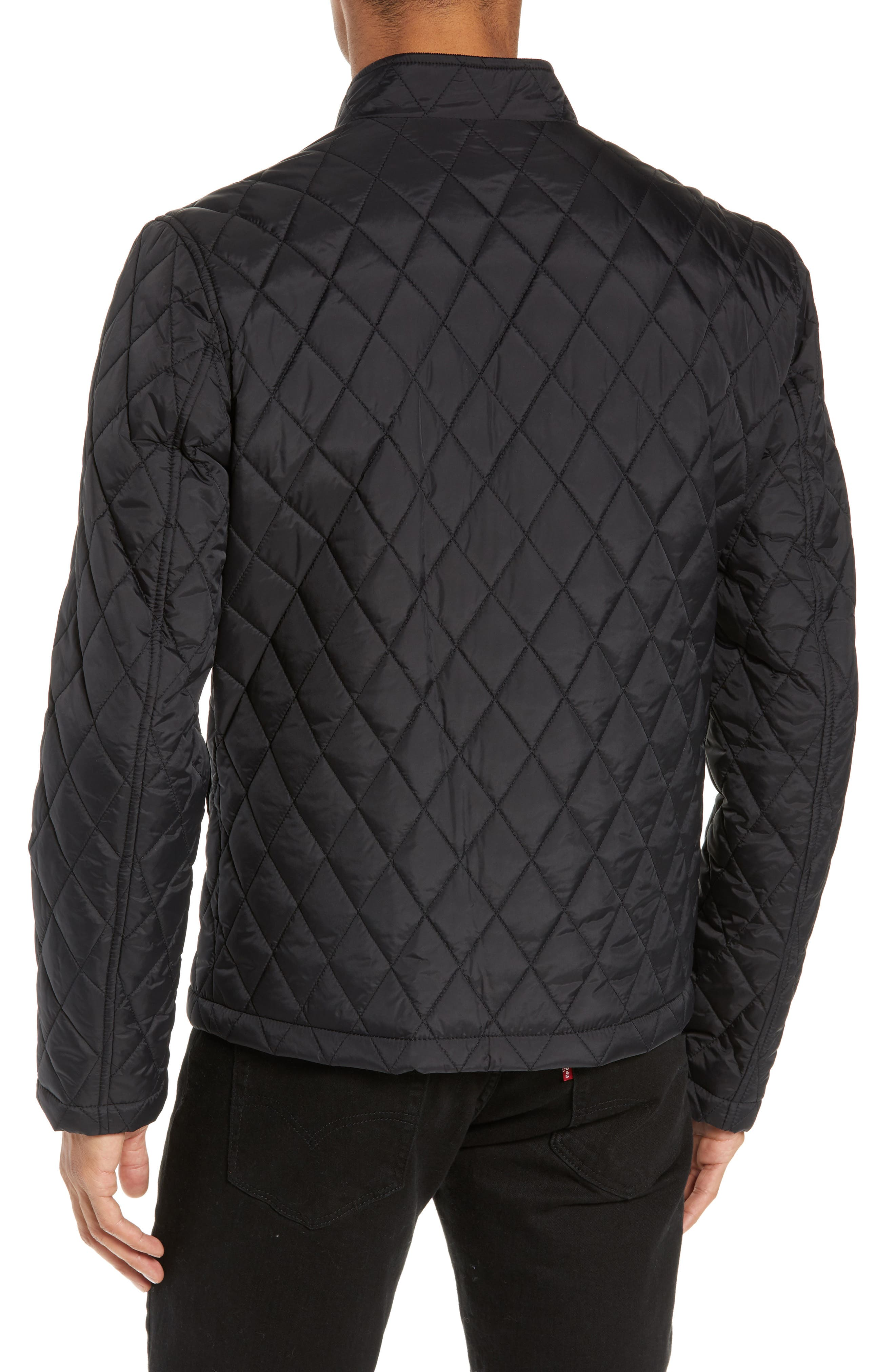 Quilted Moto Jacket,                             Alternate thumbnail 2, color,                             BLACK