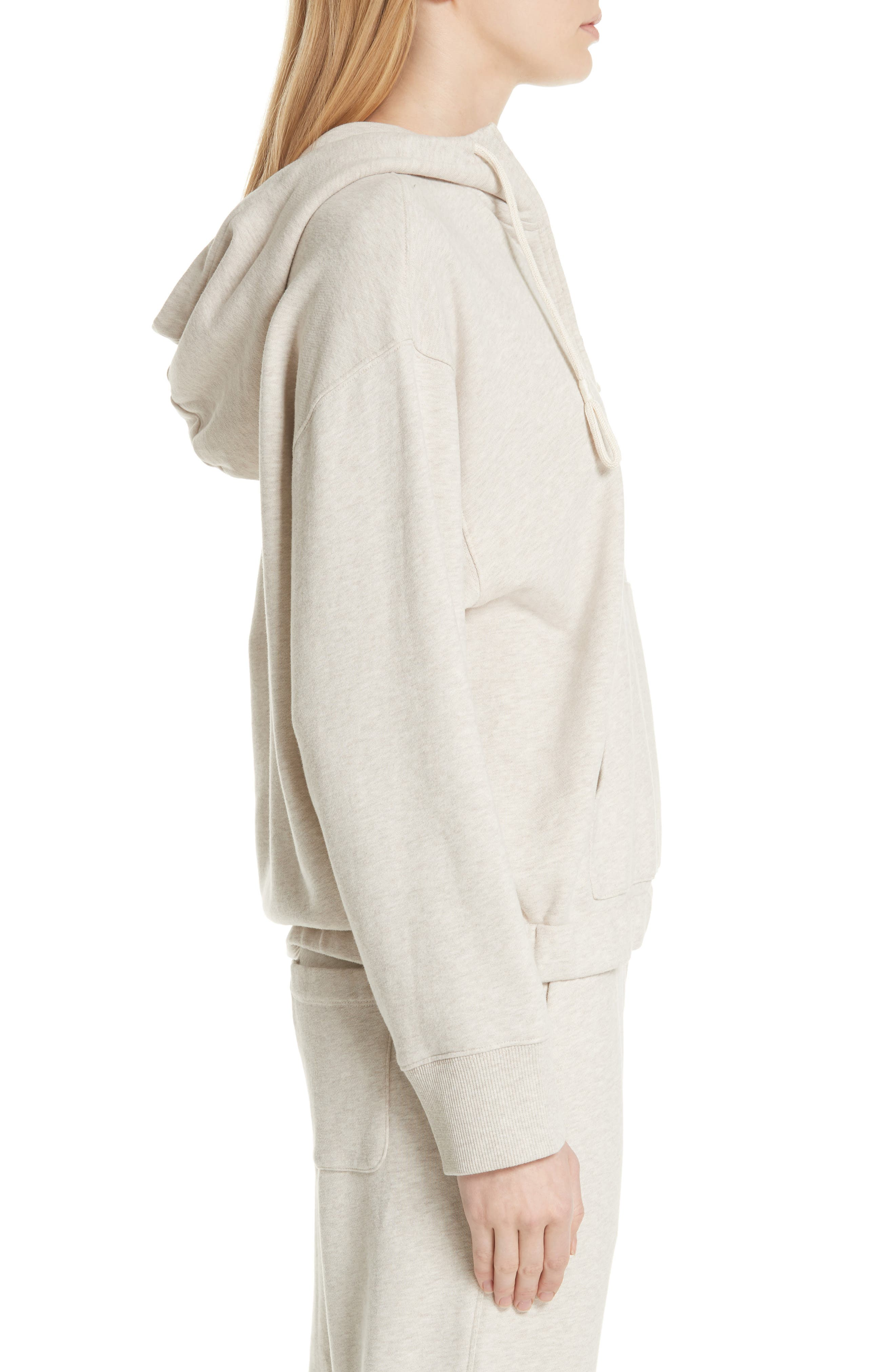 Half Zip Cotton Hoodie Sweatshirt,                             Alternate thumbnail 3, color,                             H BURLAP