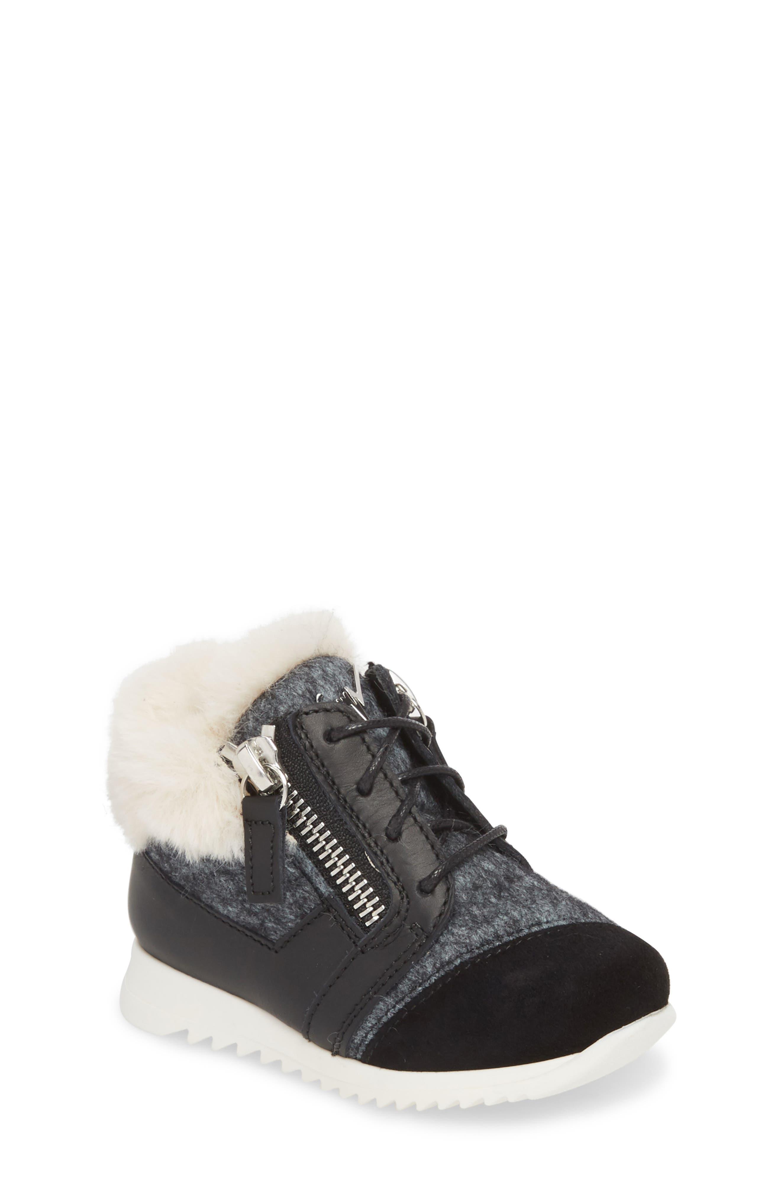 Logobal Mono Gomma Sneaker,                             Main thumbnail 1, color,                             BLACK W/ CREAM FUR