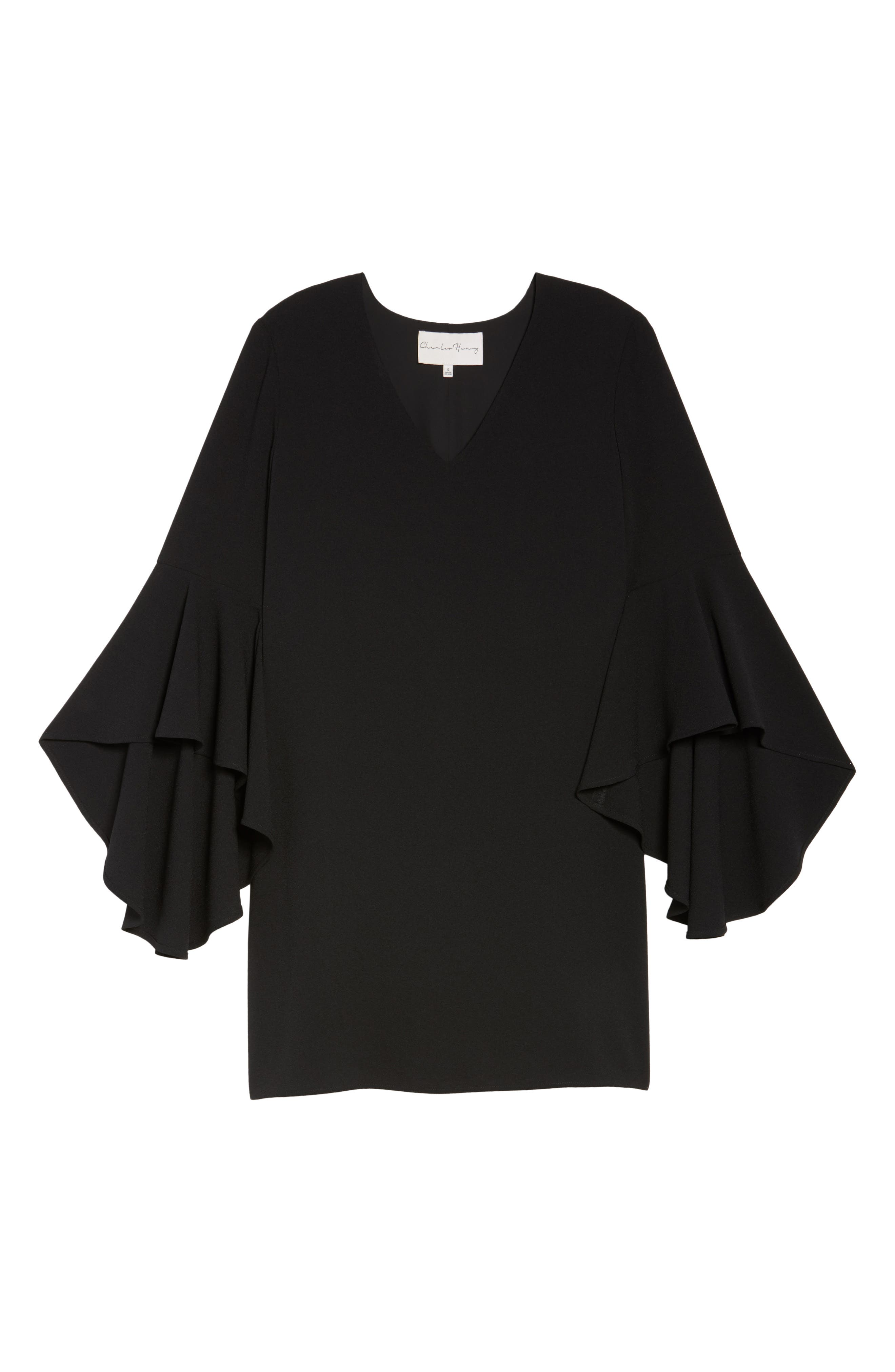 Bell Sleeve Shift Dress,                             Alternate thumbnail 6, color,                             001