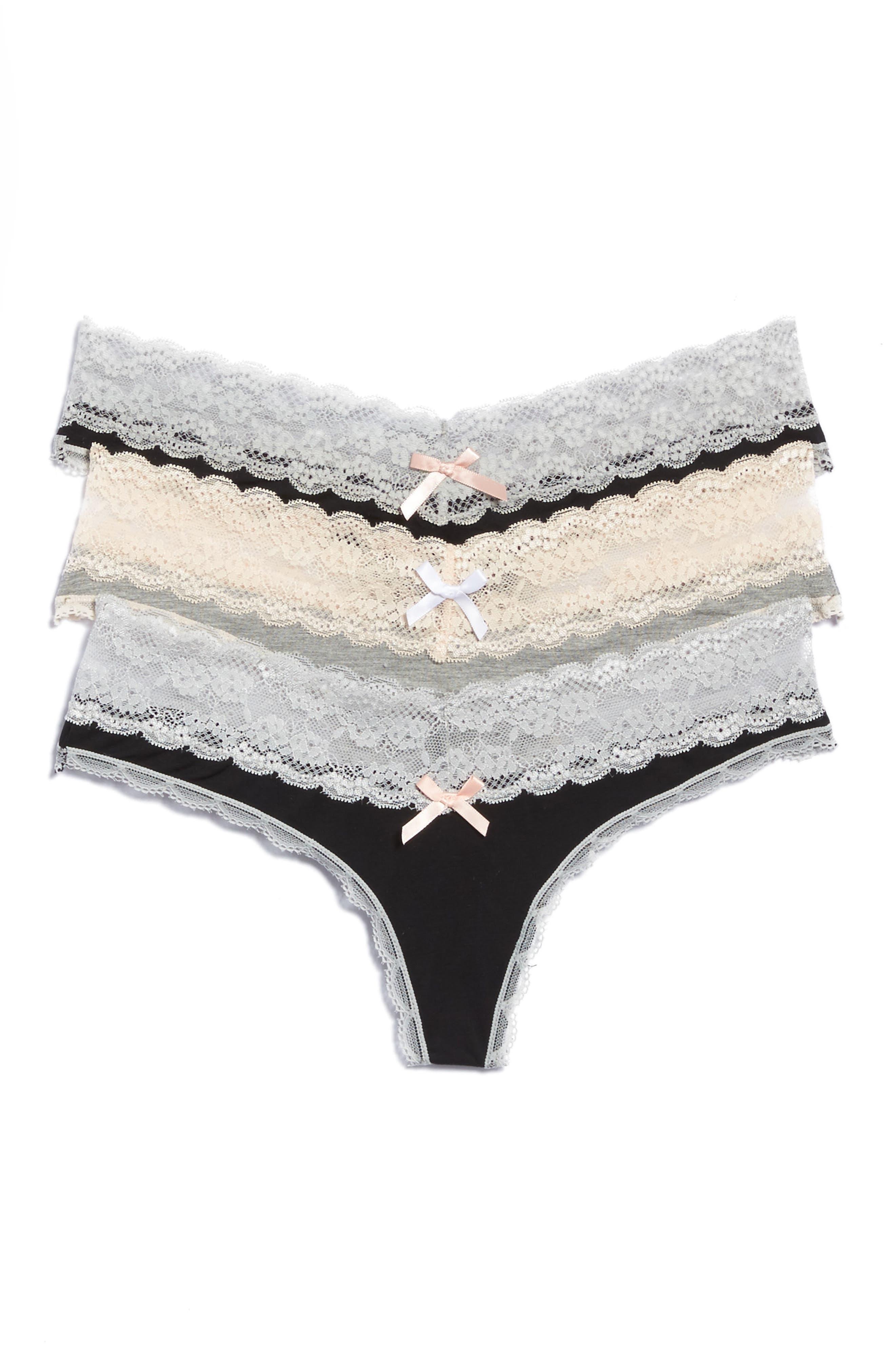 Ahna 3-Pack Lace Thong,                             Main thumbnail 1, color,                             BLACK/ HEATHER GREY/ BLACK