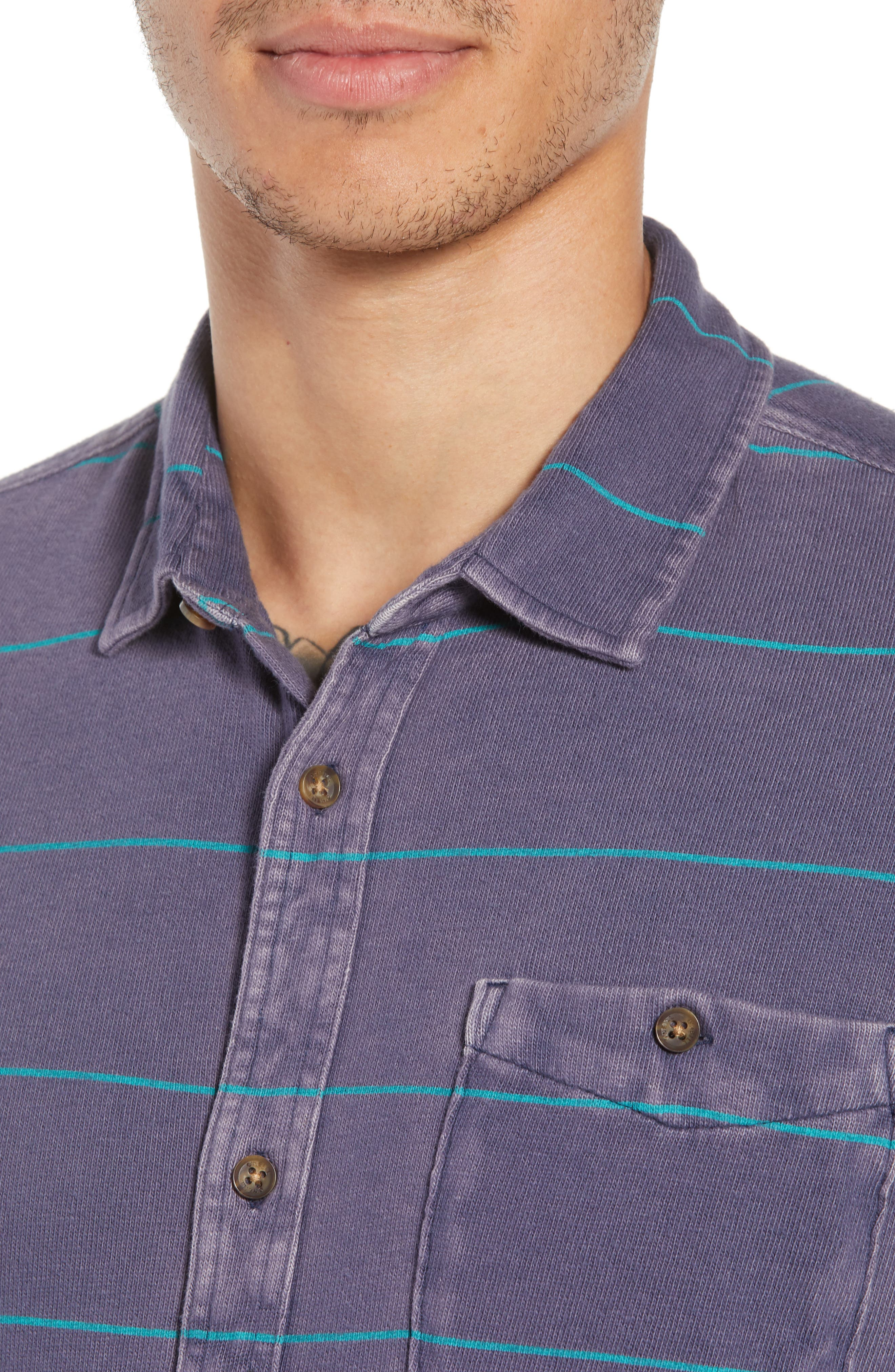 Cowell Knit Button-Up Shirt,                             Alternate thumbnail 4, color,                             NAVY