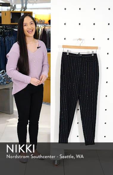 Metallic Pinstripe High Waist Skinny Wool Pants, sales video thumbnail