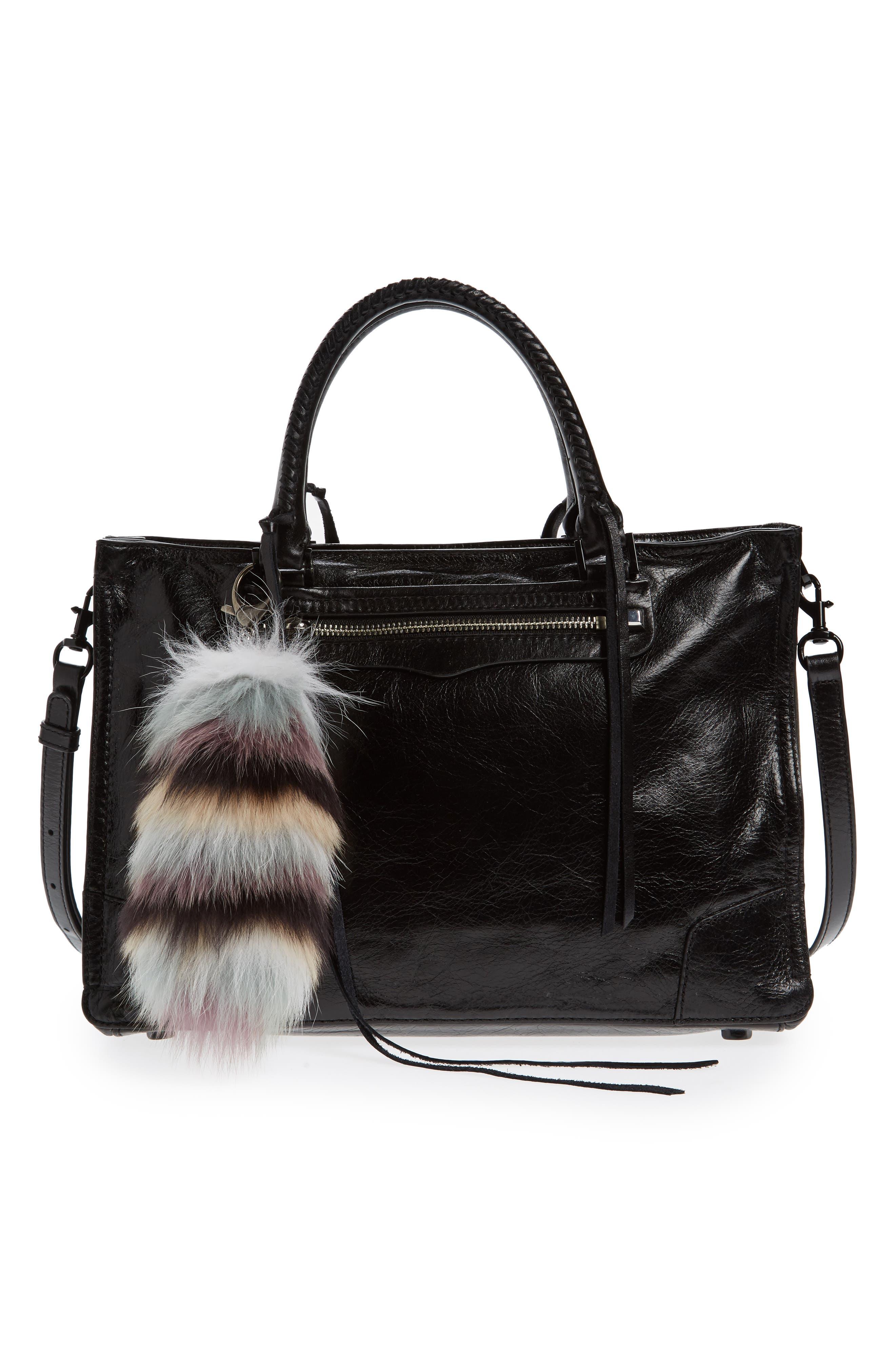 Genuine Fox Tail Fur Bag Charm,                             Alternate thumbnail 3, color,