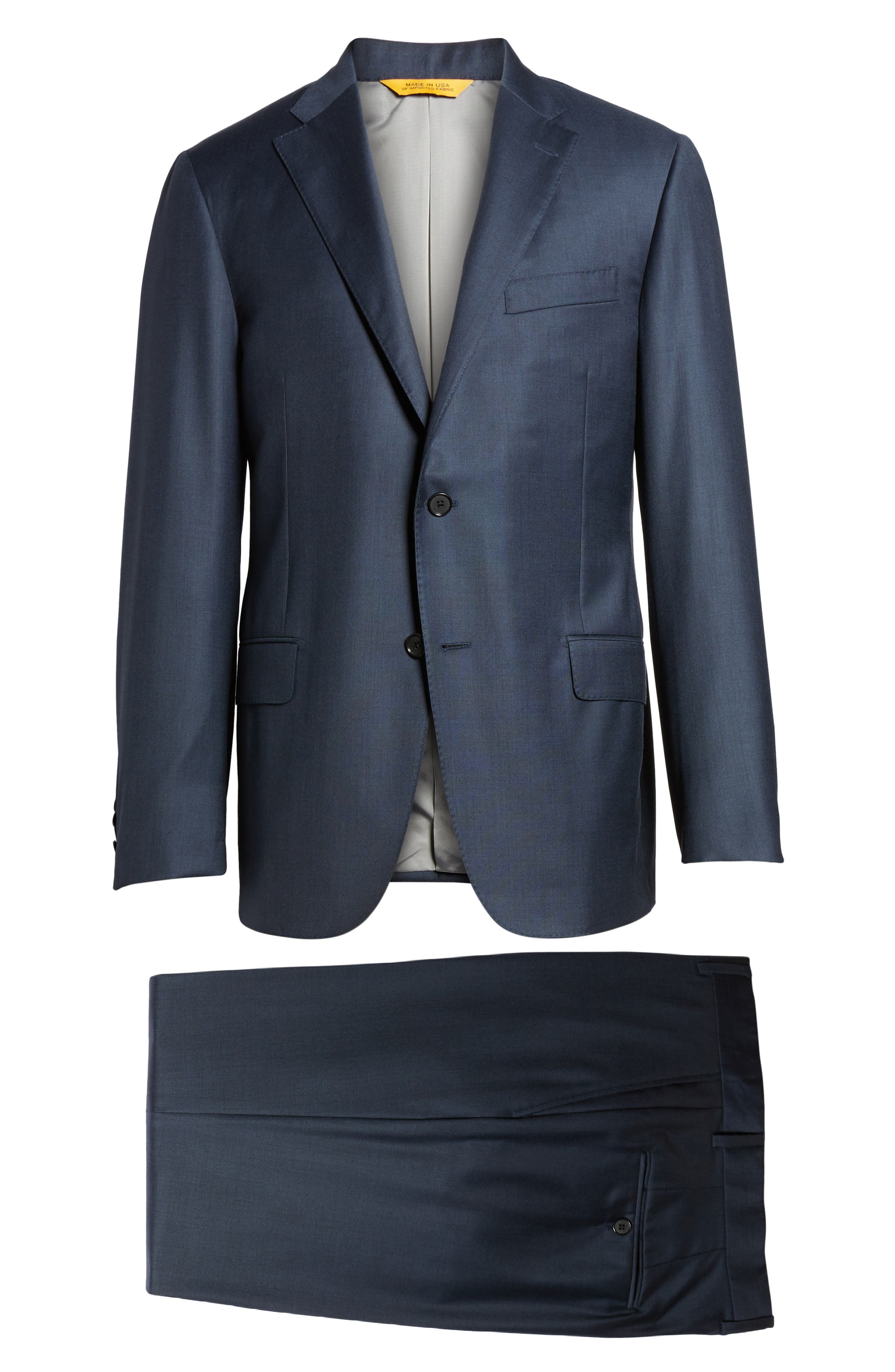 Modern H Fit Solid Loro Piana Wool Suit,                             Alternate thumbnail 8, color,                             NAVY SHARKSKIN