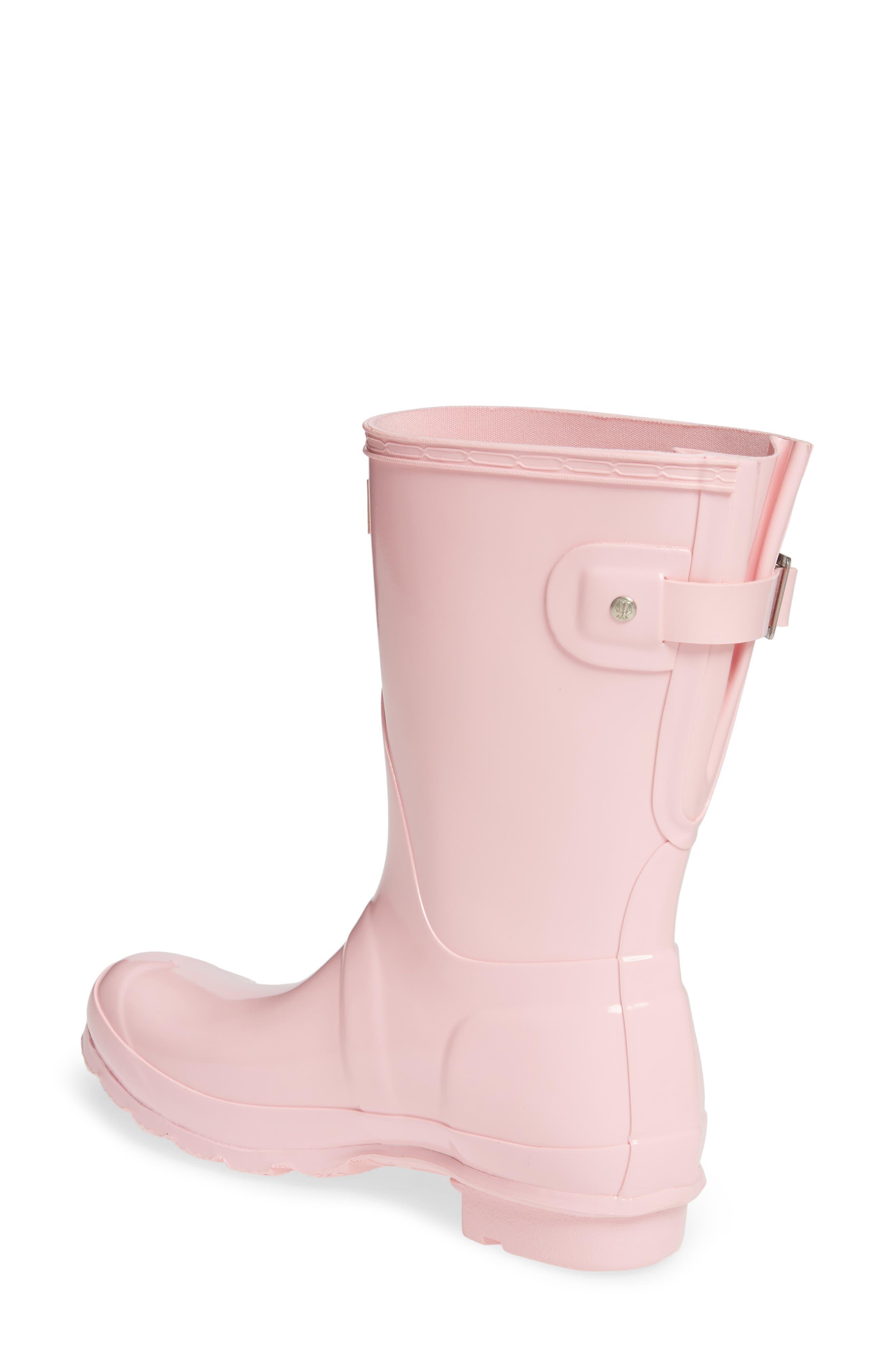HUNTER,                             Original Short Adjustable Back Gloss Waterproof Rain Boot,                             Alternate thumbnail 2, color,                             CANDY FLOSS RUBBER