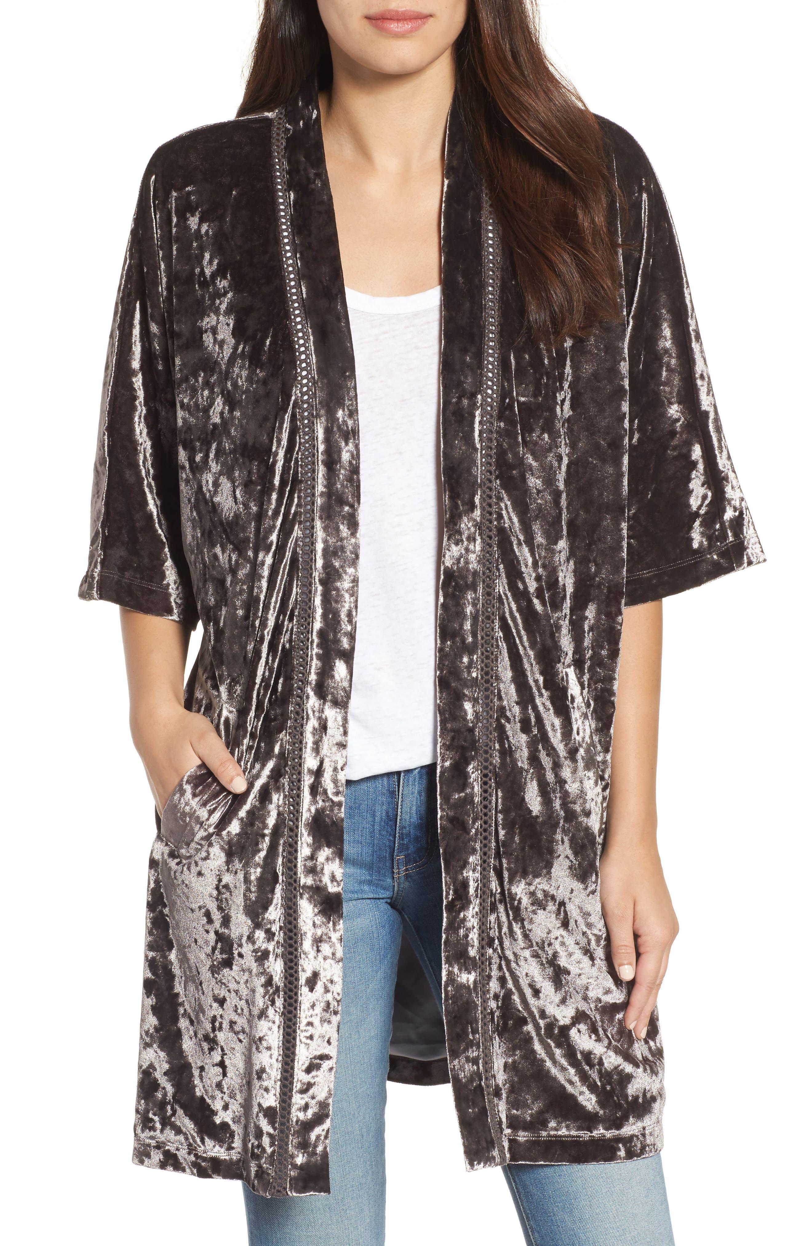 Embroidered Velvet Kimono Jacket,                             Main thumbnail 2, color,