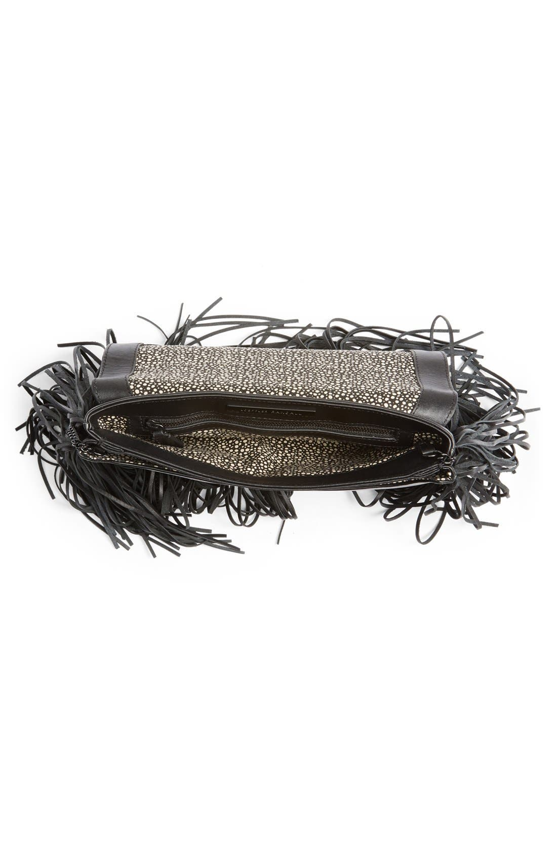 'Lock' Fringe Clutch,                             Alternate thumbnail 2, color,                             001