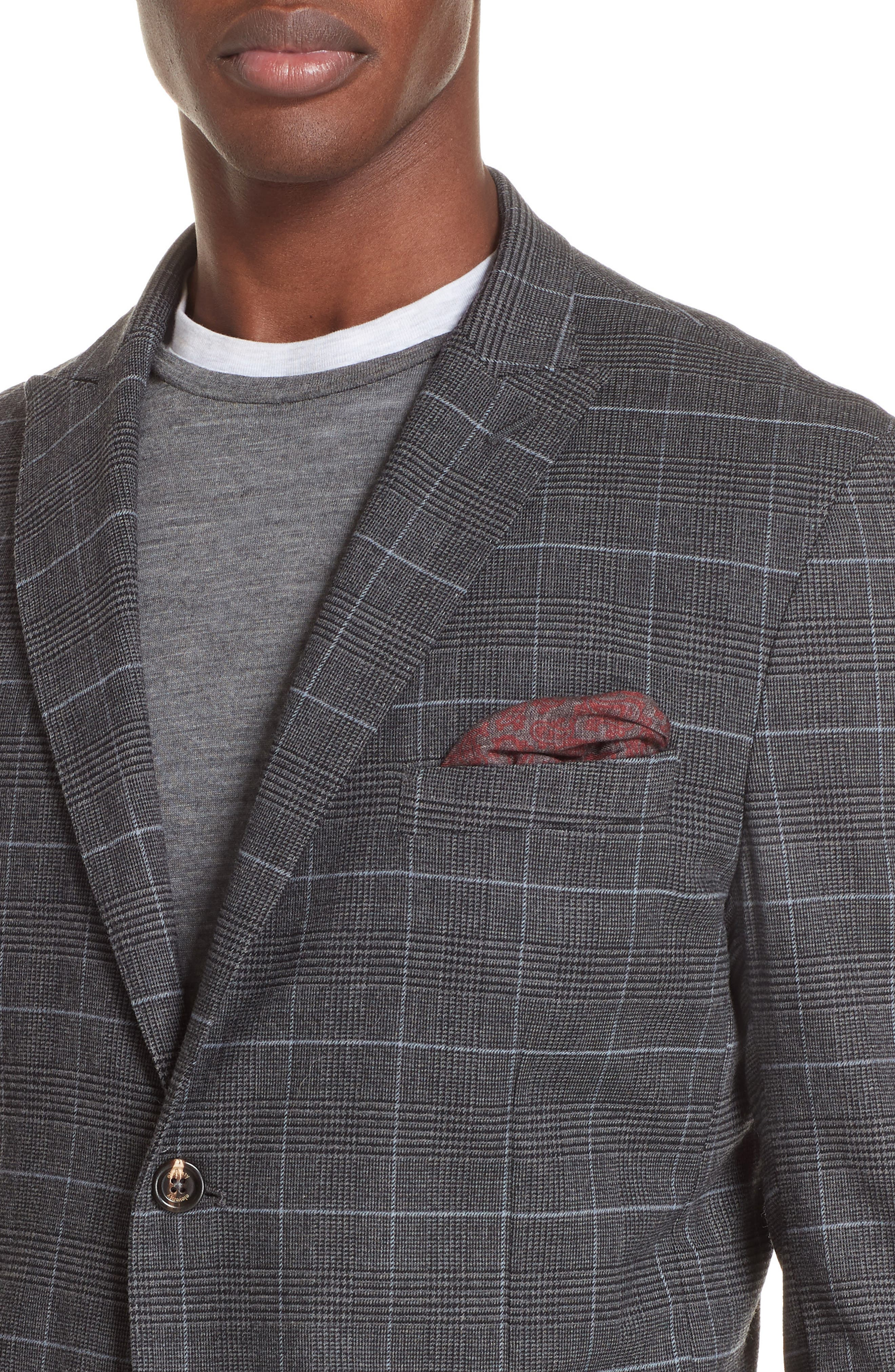 Trim Fit Stretch Plaid Wool Sport Coat,                             Alternate thumbnail 4, color,                             GREY