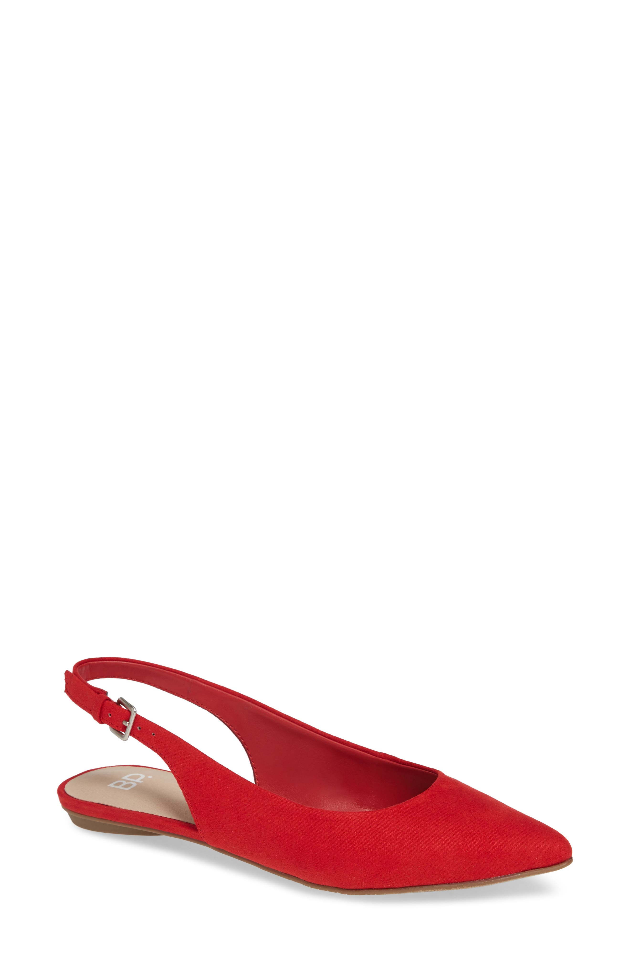 Sandra Slingback Flat,                             Main thumbnail 1, color,                             RED FAUX SUEDE