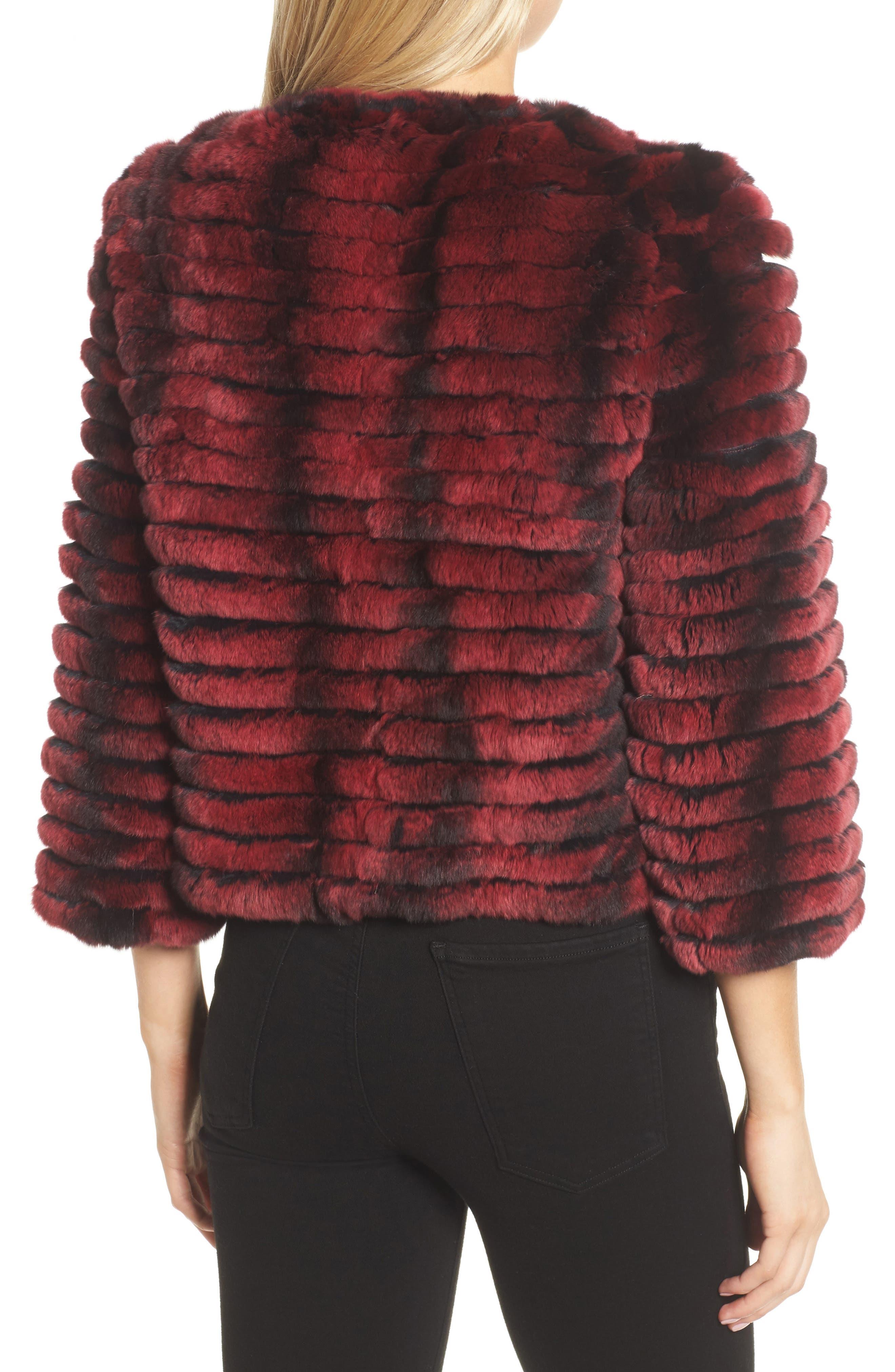 Genuine Rabbit Fur Crop Jacket,                             Alternate thumbnail 3, color,