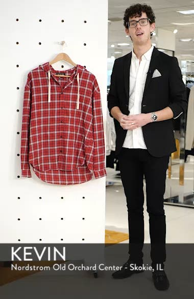 Checkered Classic Fit Hoodie Shirt Jacket, sales video thumbnail