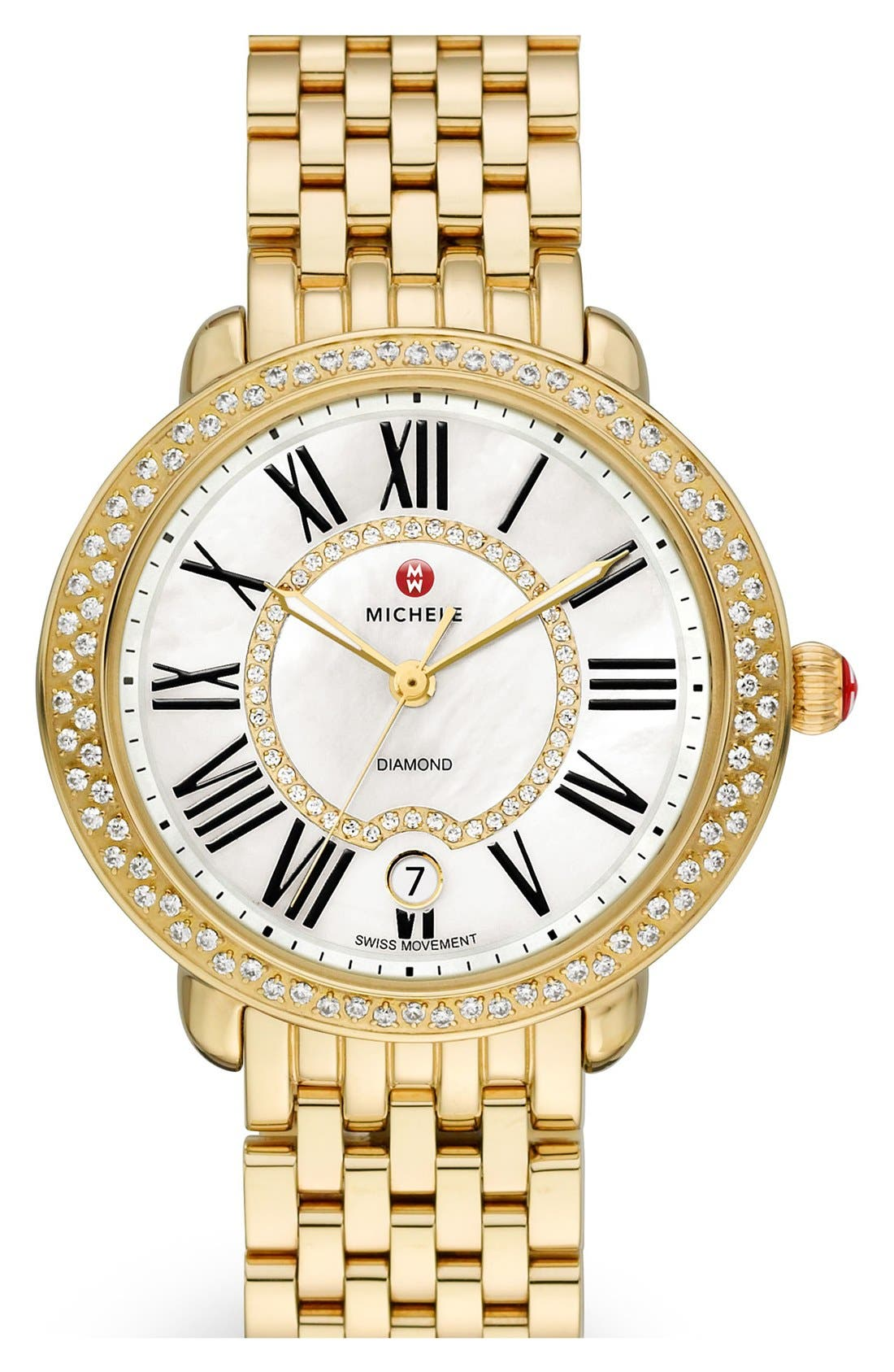 Serein 16 Diamond Gold Plated Watch Case, 34mm x 36mm,                             Alternate thumbnail 3, color,                             GOLD