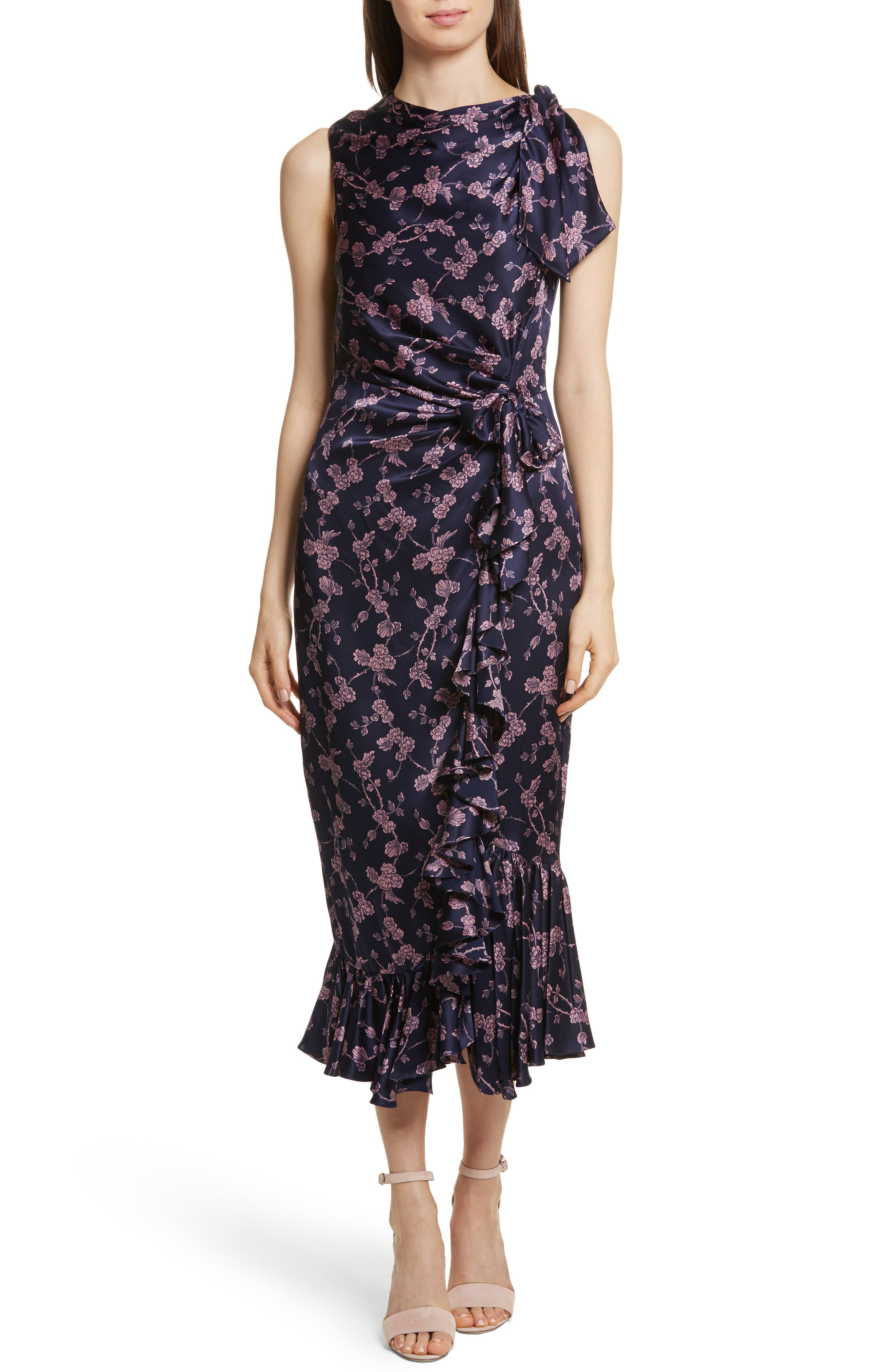 Nanon Knotted Silk Dress,                             Main thumbnail 1, color,                             699