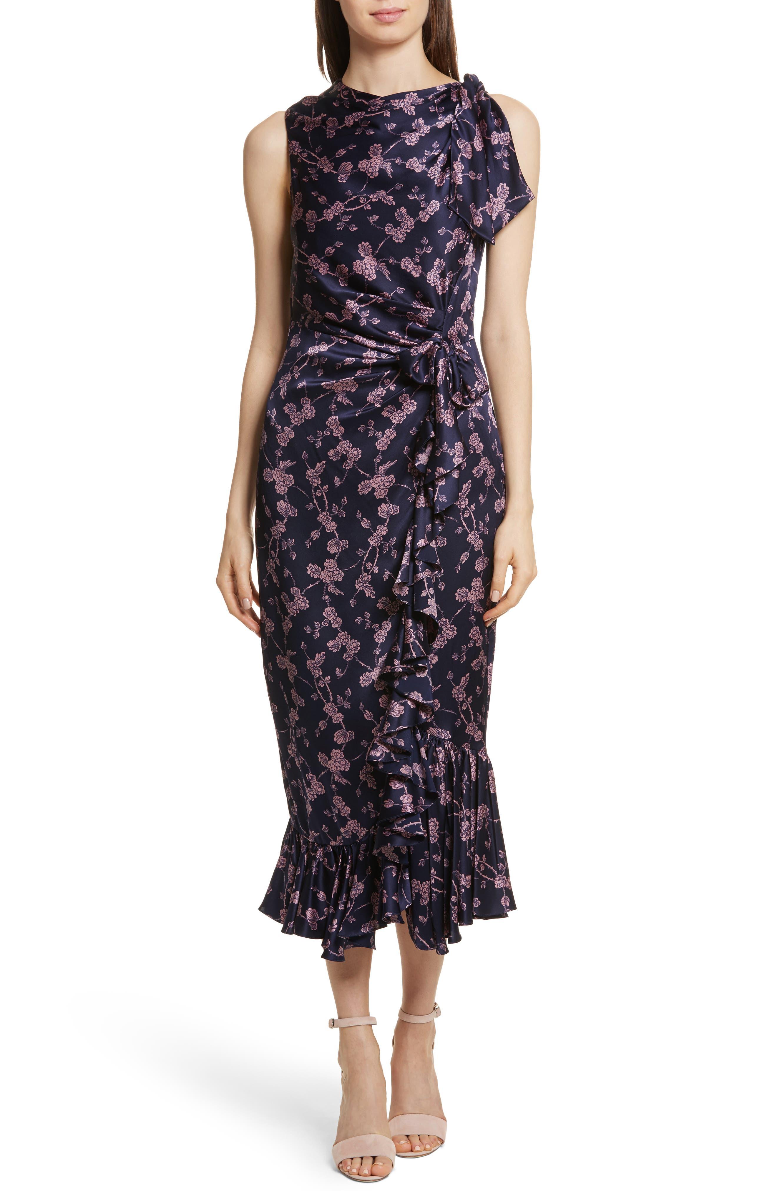 Nanon Knotted Silk Dress,                         Main,                         color, 699