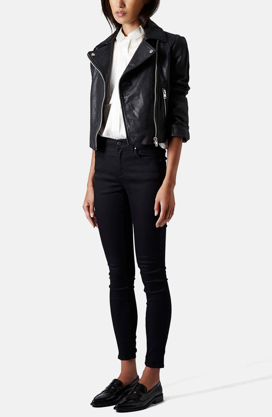 Moto 'Leigh' Mid Rise Skinny Jeans,                             Alternate thumbnail 6, color,                             001