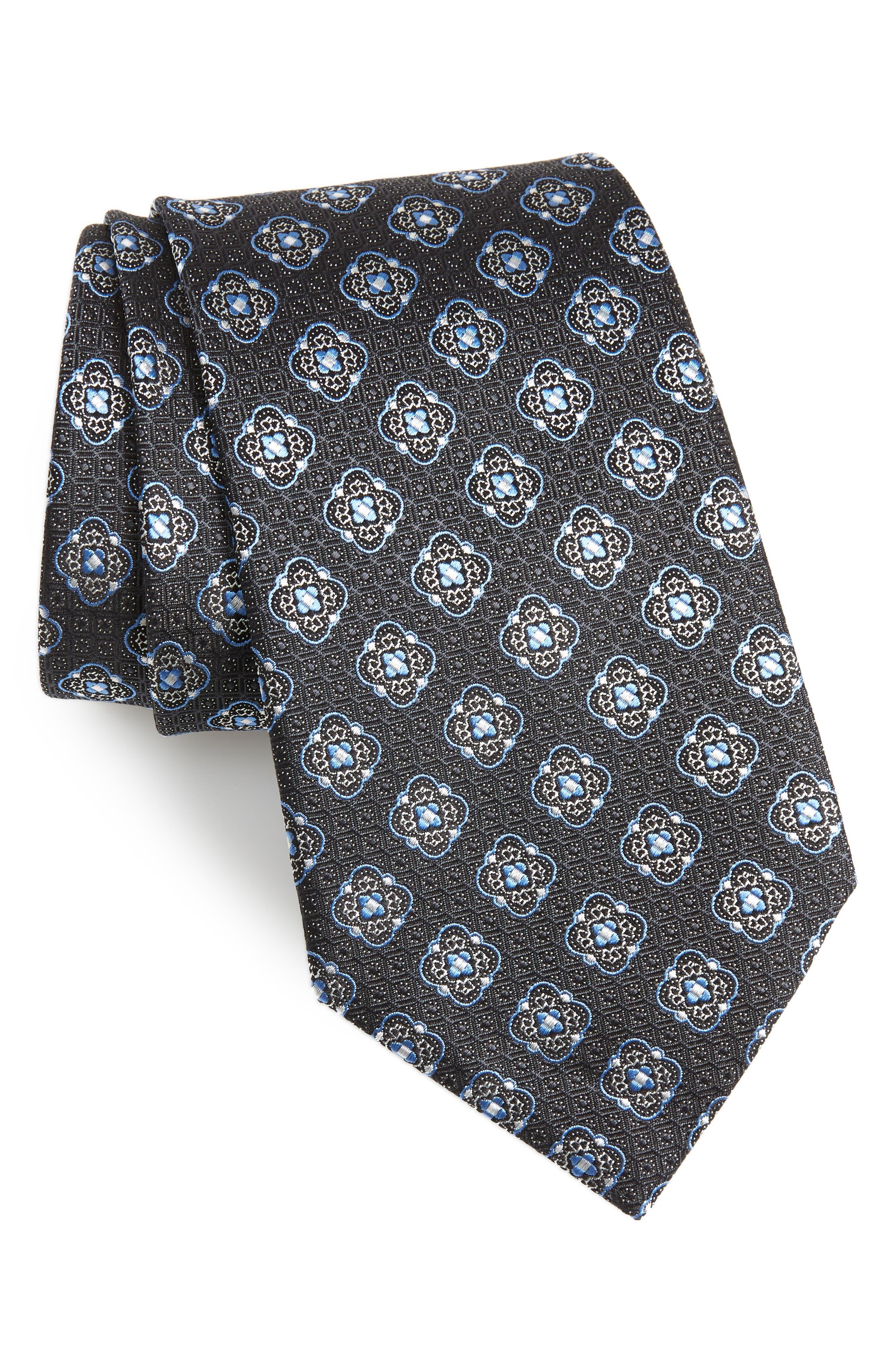 Medallion Silk Tie,                             Main thumbnail 1, color,                             028