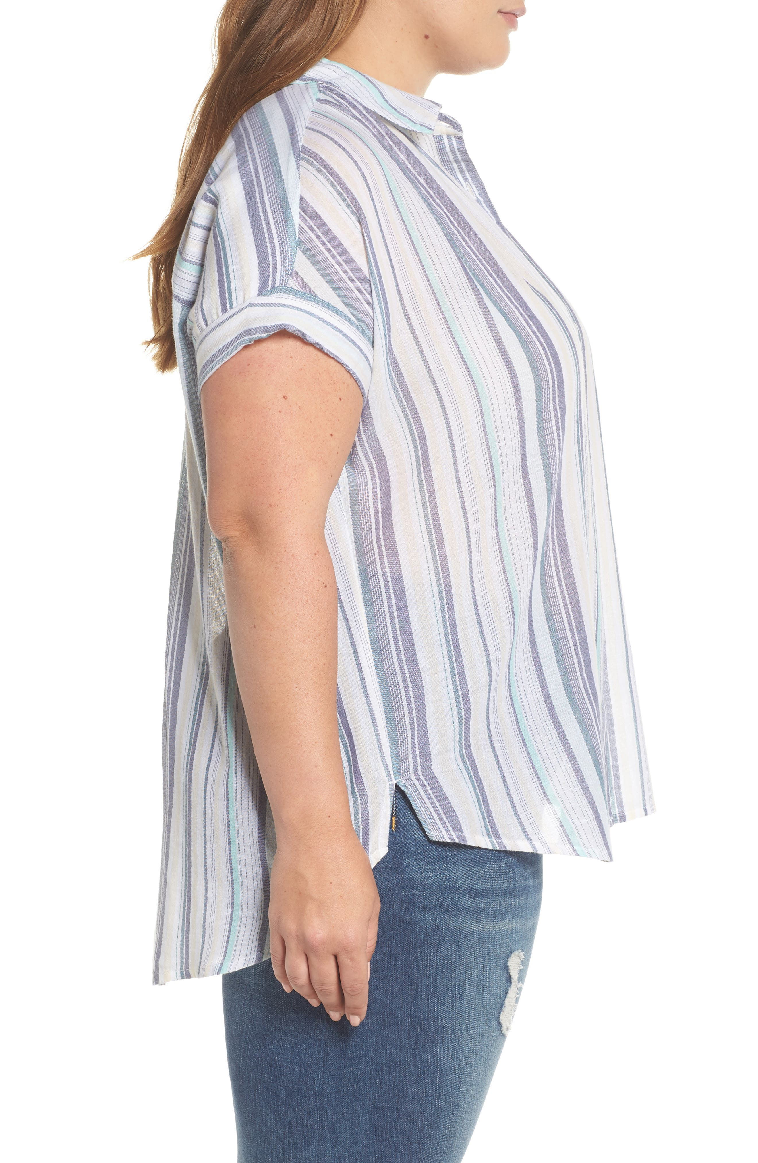 Sheer Stripe Shirt,                             Alternate thumbnail 3, color,                             101