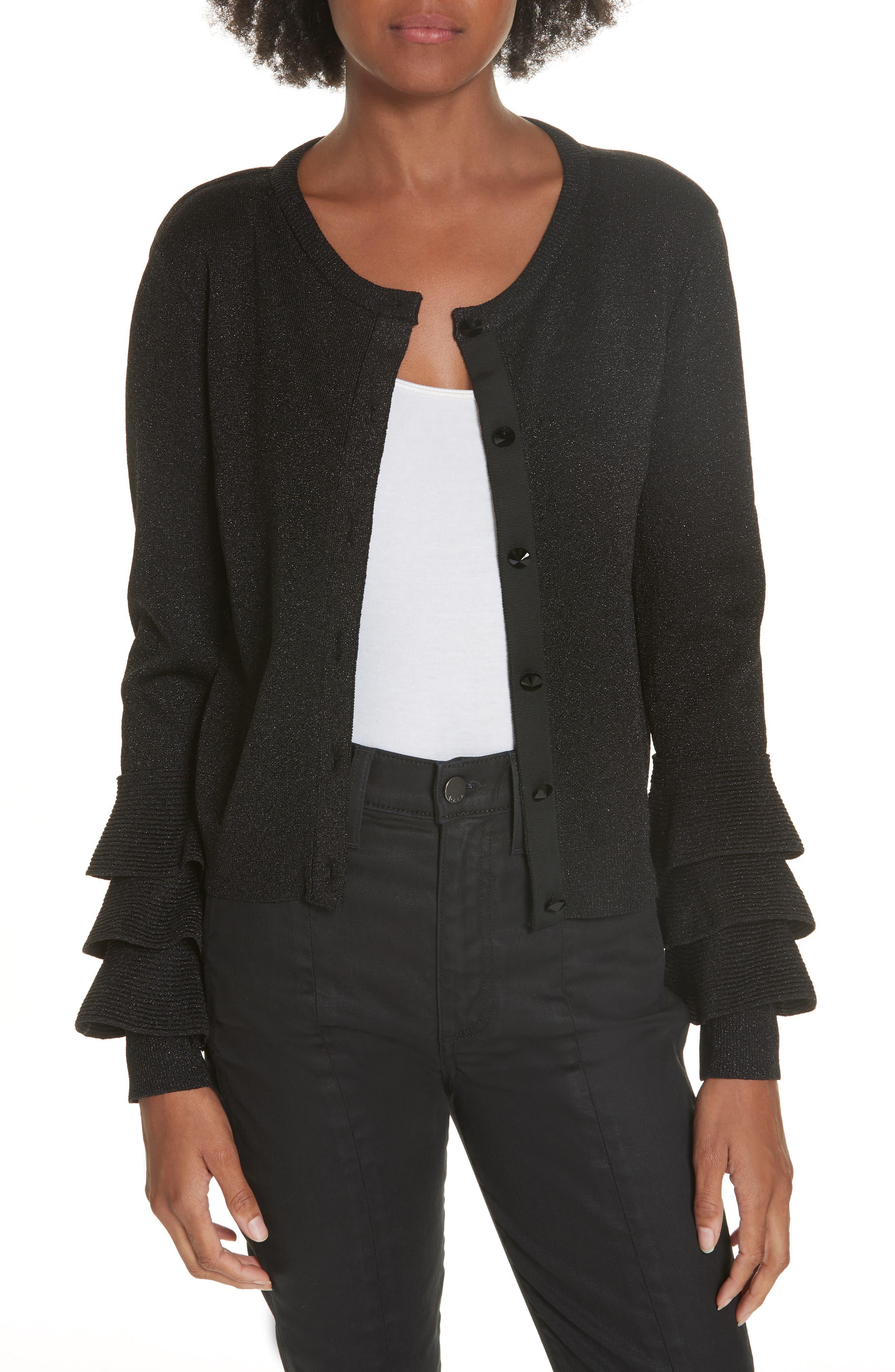 Ruthy Ruffle Cuff Sparkle Wool Blend Cardigan,                         Main,                         color, BLACK METALLIC