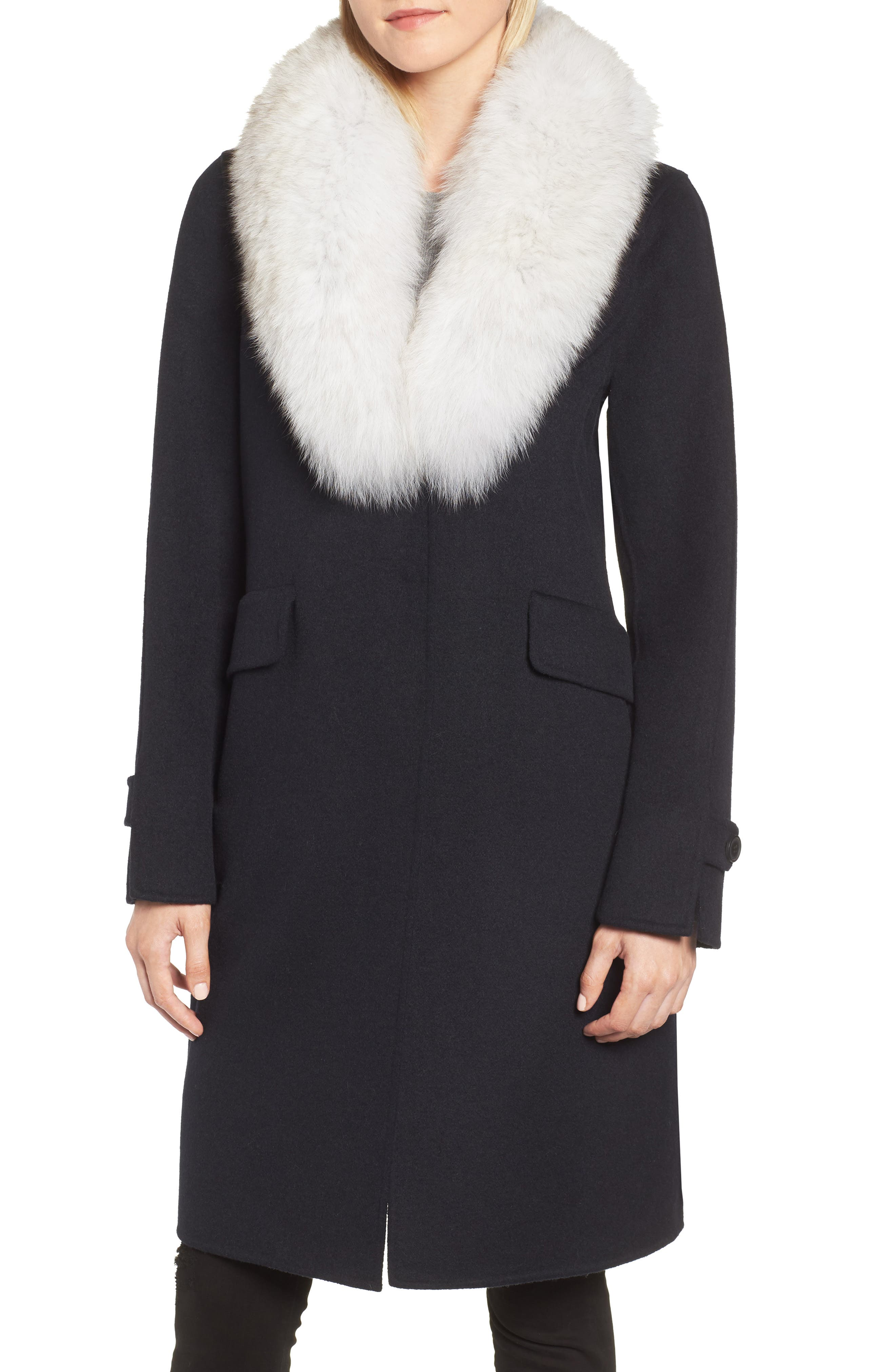 Wool Blend Reefer Coat with Genuine Fox Fur Trim,                             Main thumbnail 1, color,                             NAVY