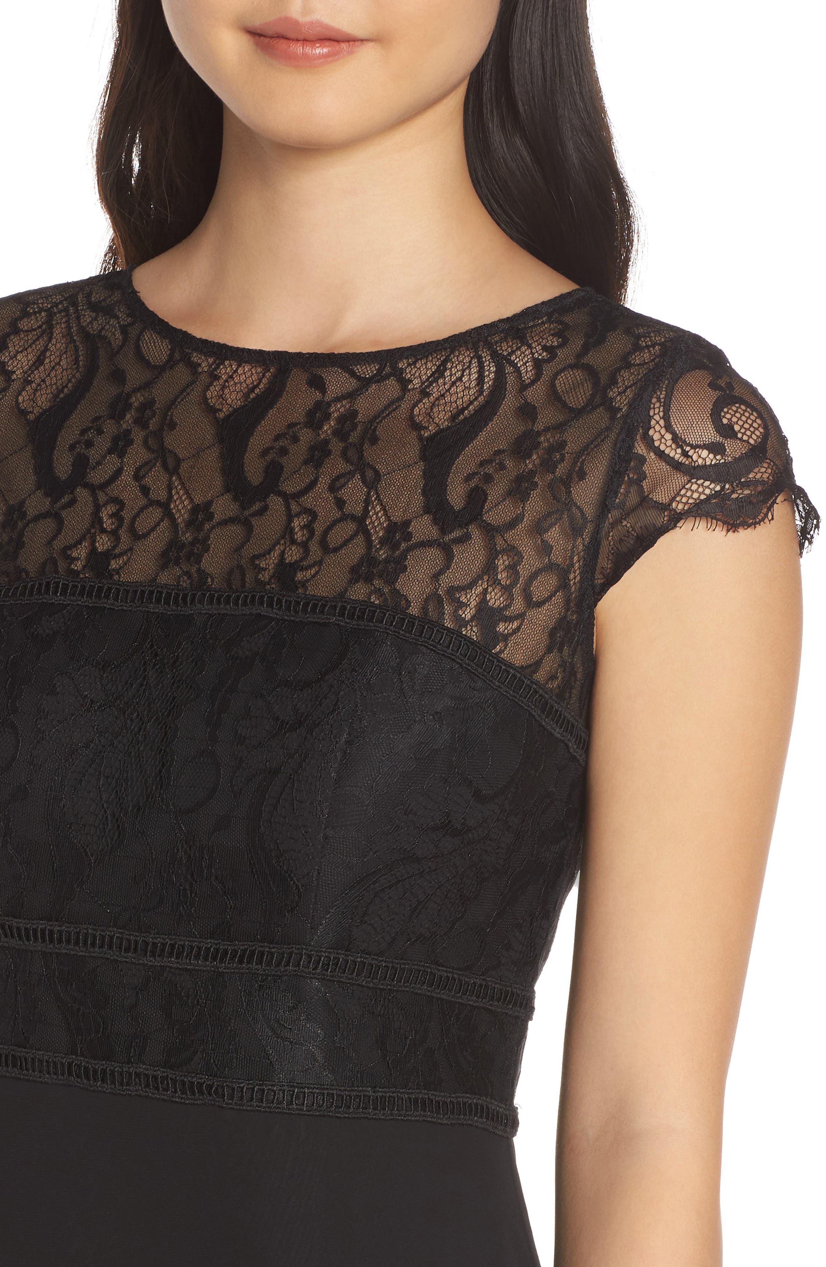 HAYLEY PAIGE OCCASIONS,                             Lace Bodice Chiffon Evening Dress,                             Alternate thumbnail 4, color,                             BLACK / BLACK