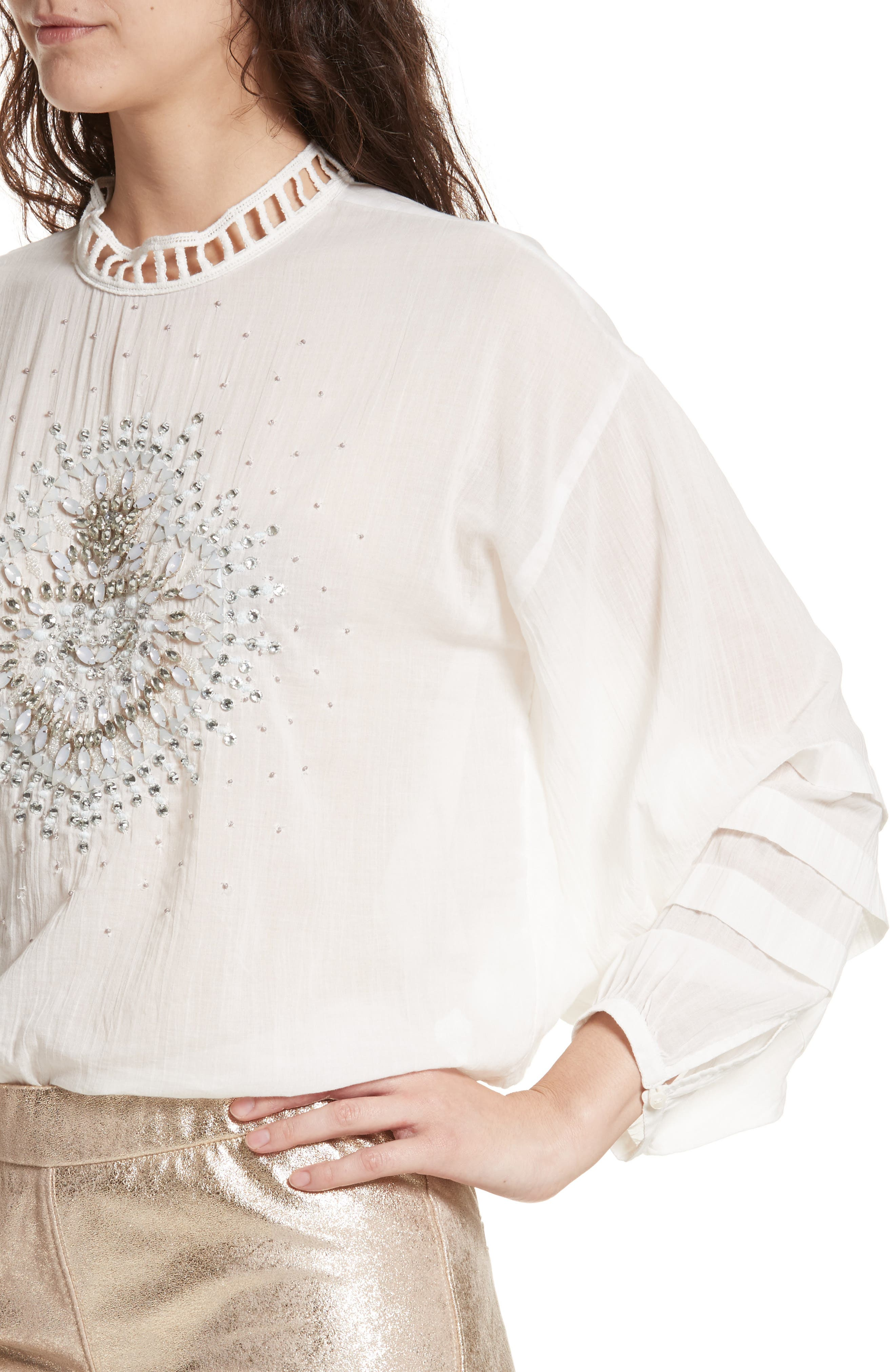 Heart of Gold Embellished Blouse,                             Alternate thumbnail 7, color,