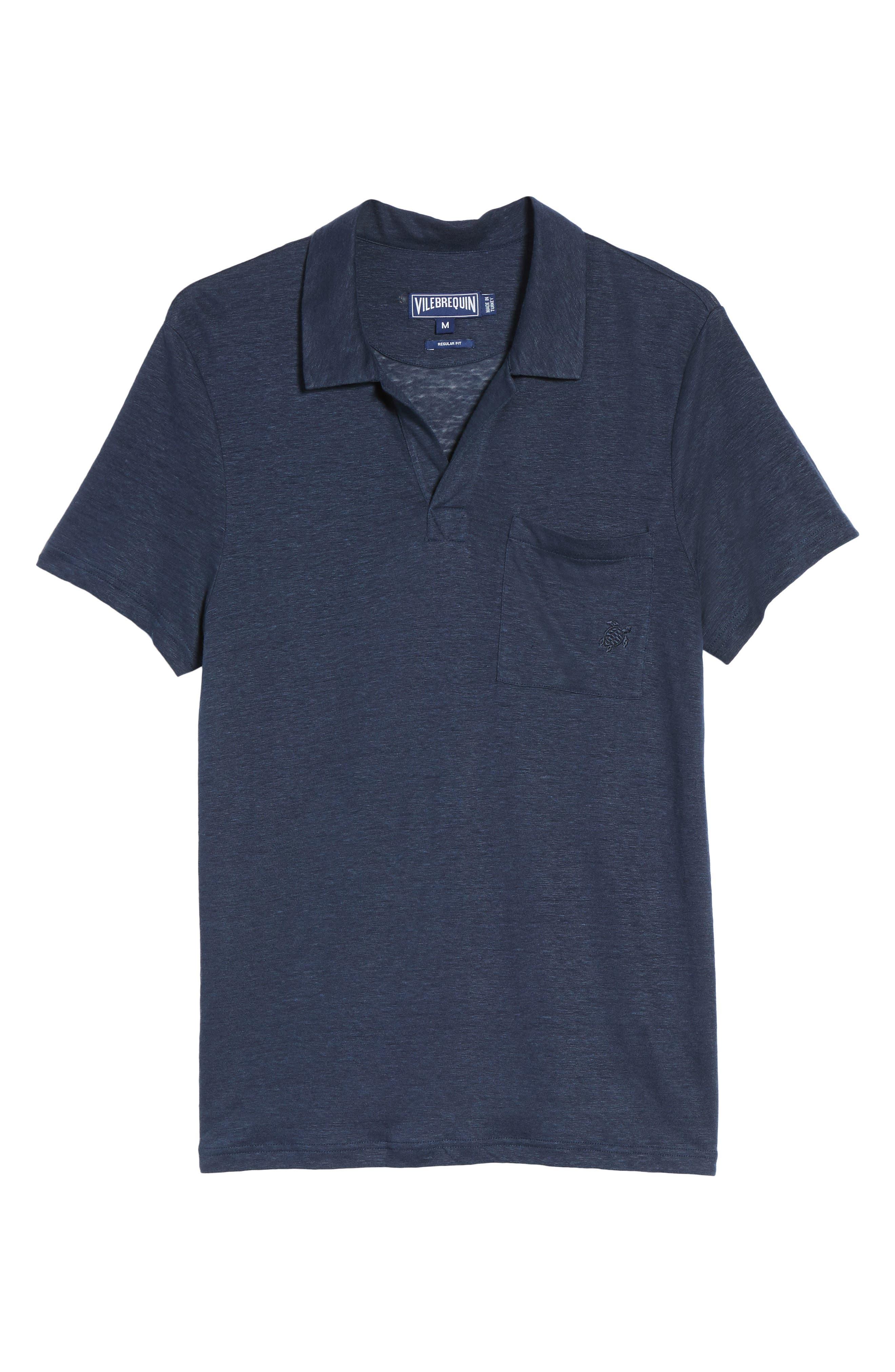 Linen Slub Jersey Linen Polo,                             Alternate thumbnail 6, color,                             NAVY