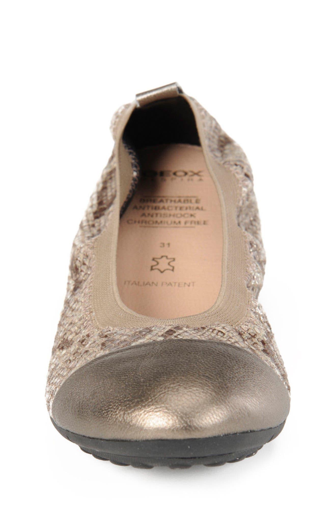Jr Piuma Cap Toe Ballerina Flat,                             Alternate thumbnail 4, color,                             260