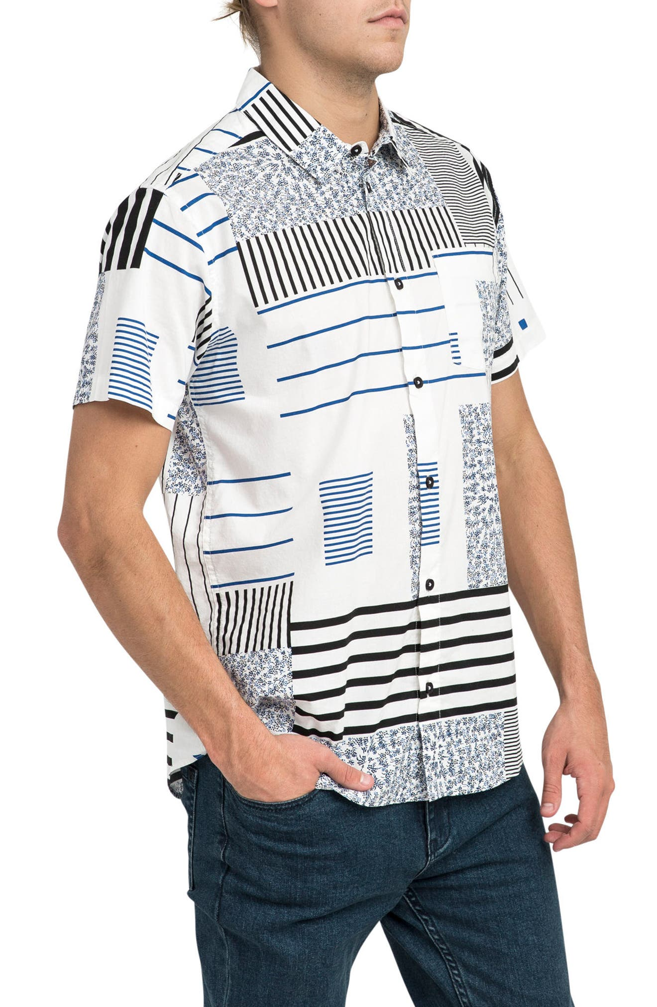 Mixed Linear Short Sleeve Shirt,                             Alternate thumbnail 3, color,                             150