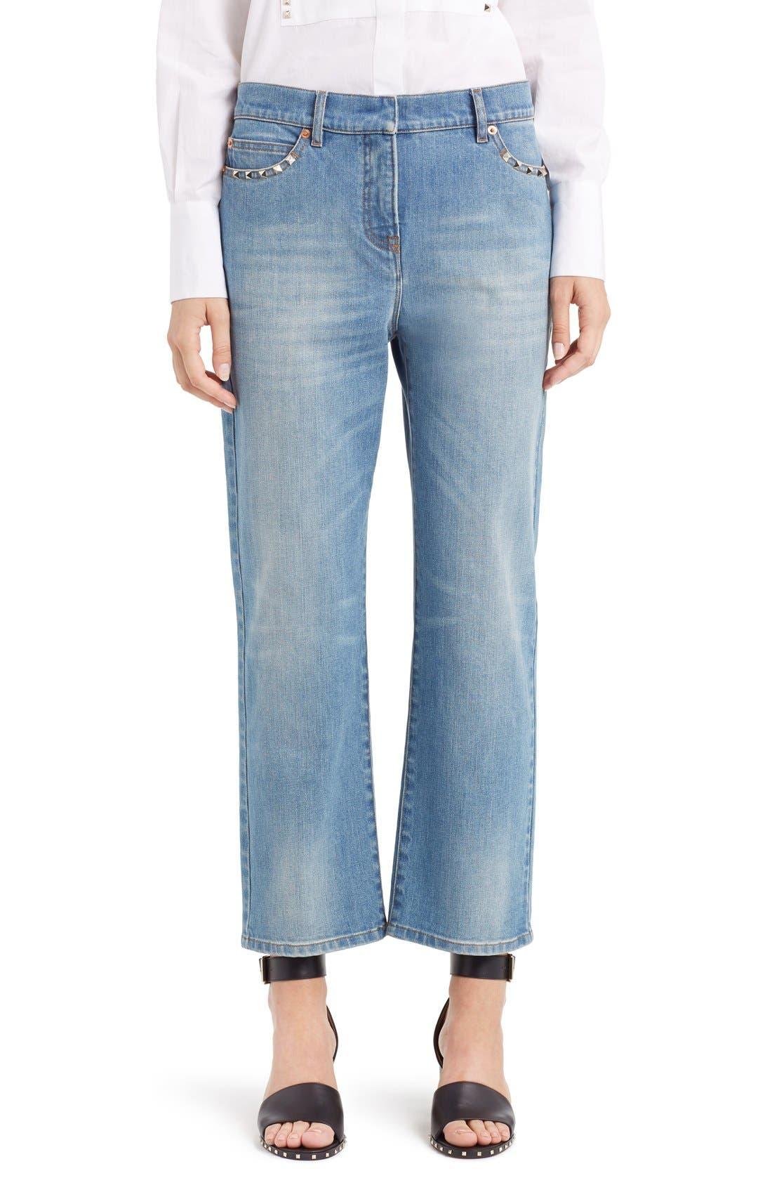 Rockstud Boyfriend Jeans,                         Main,                         color, BLUE