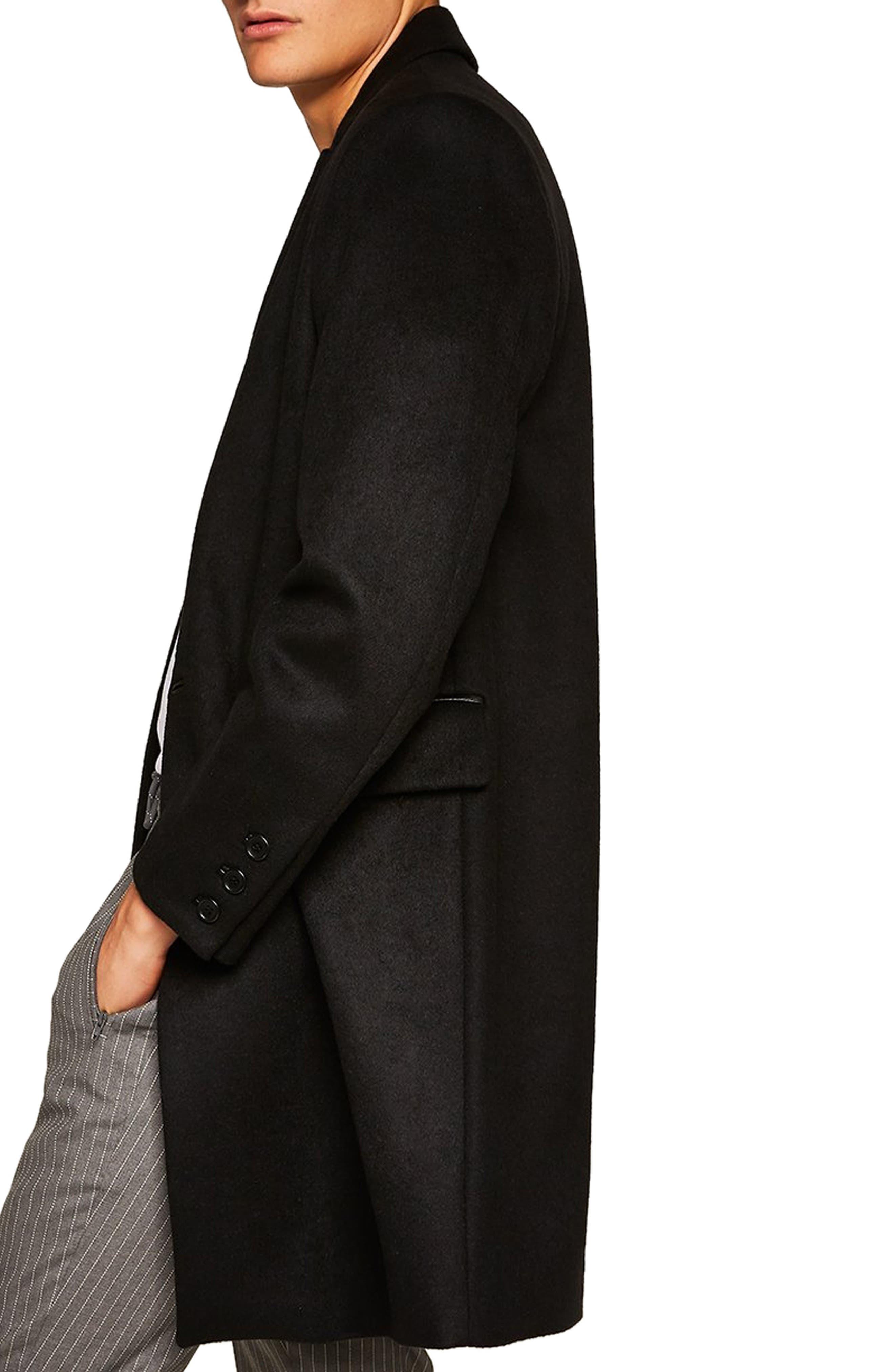 Wool Blend Overcoat,                             Alternate thumbnail 3, color,                             BLACK