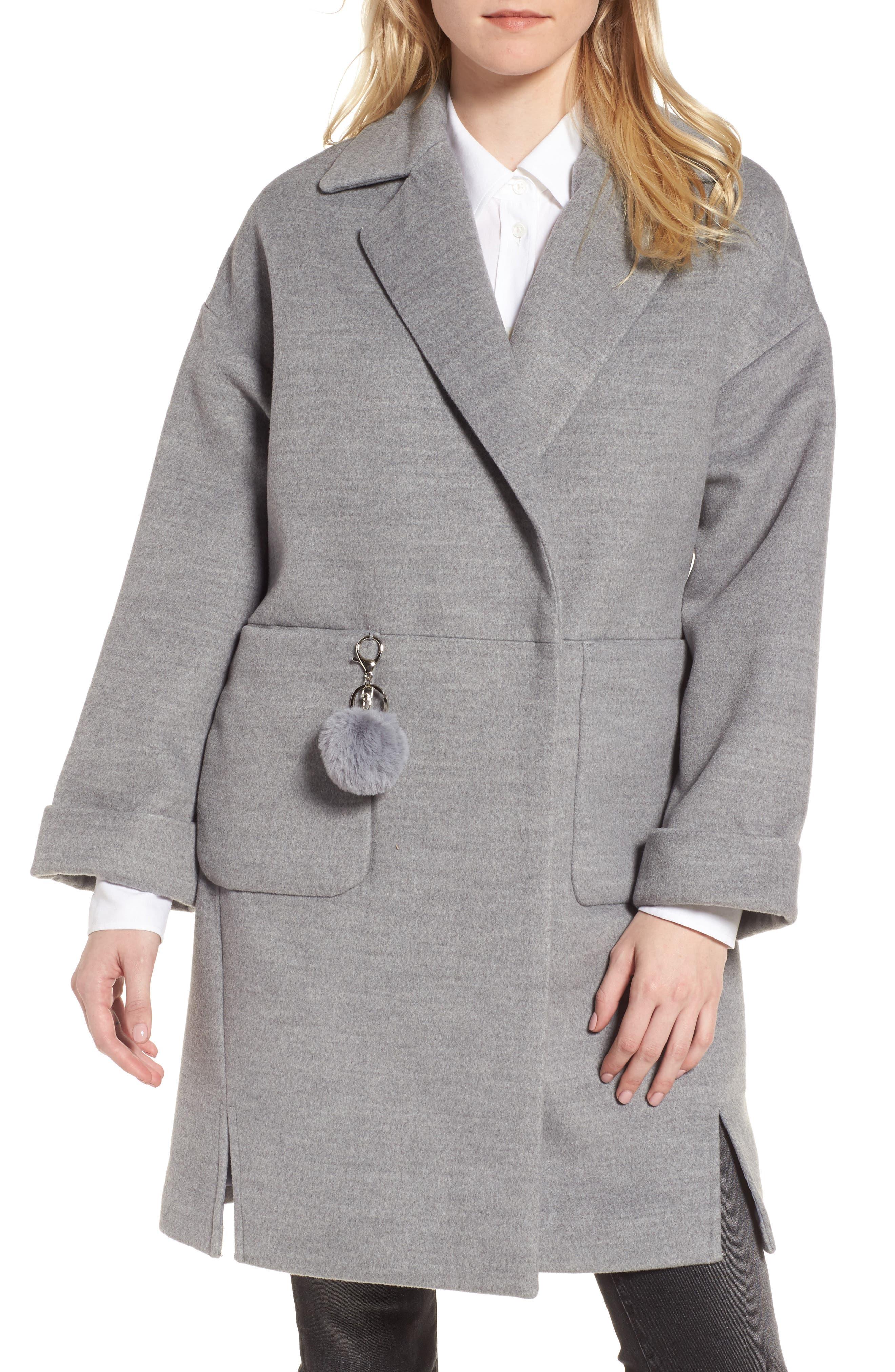 Pompom Trim Coat,                             Main thumbnail 1, color,                             020