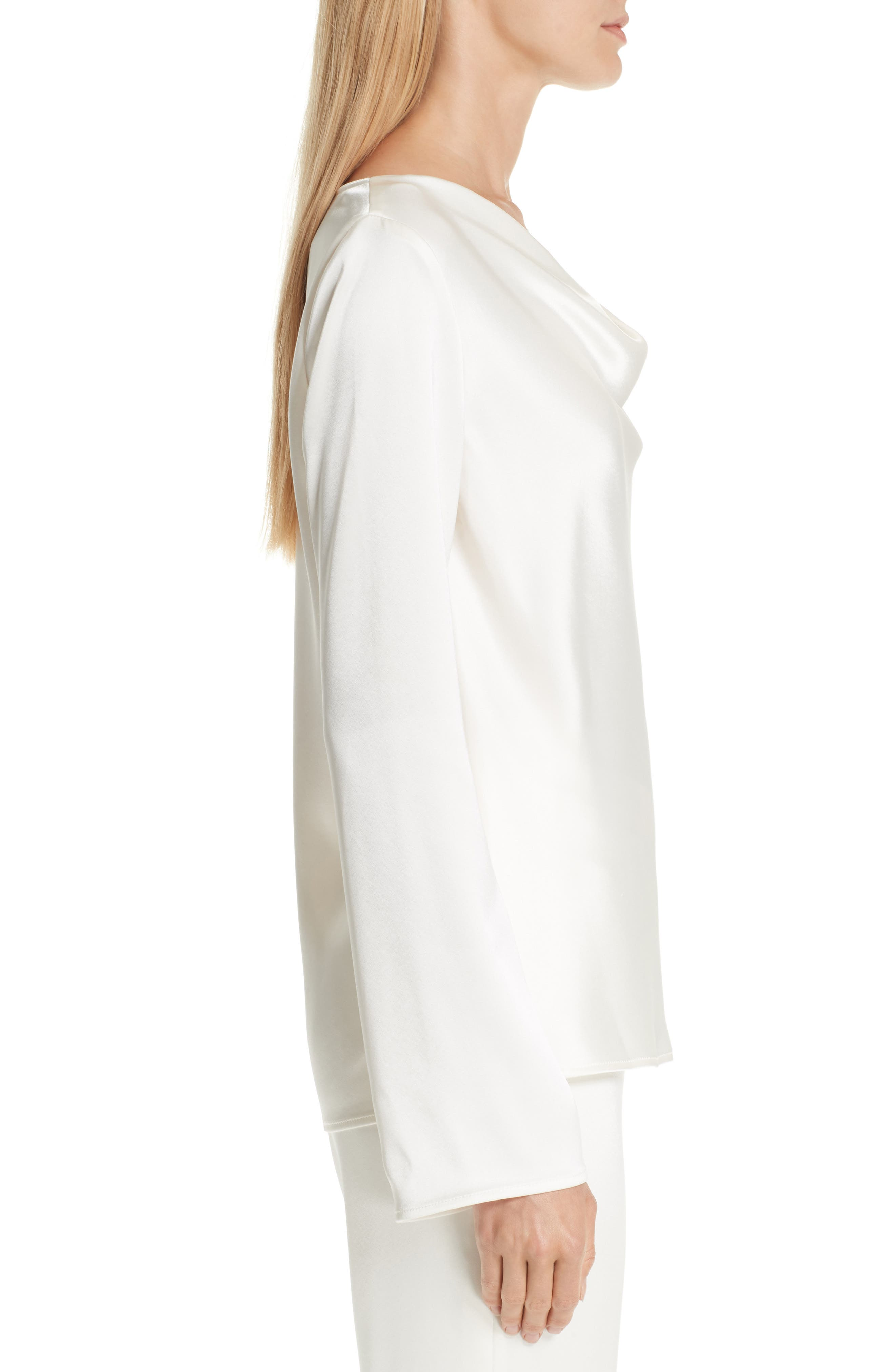 ST. JOHN COLLECTION,                             Satin Cowl Neck Blouse,                             Alternate thumbnail 3, color,                             CREAM