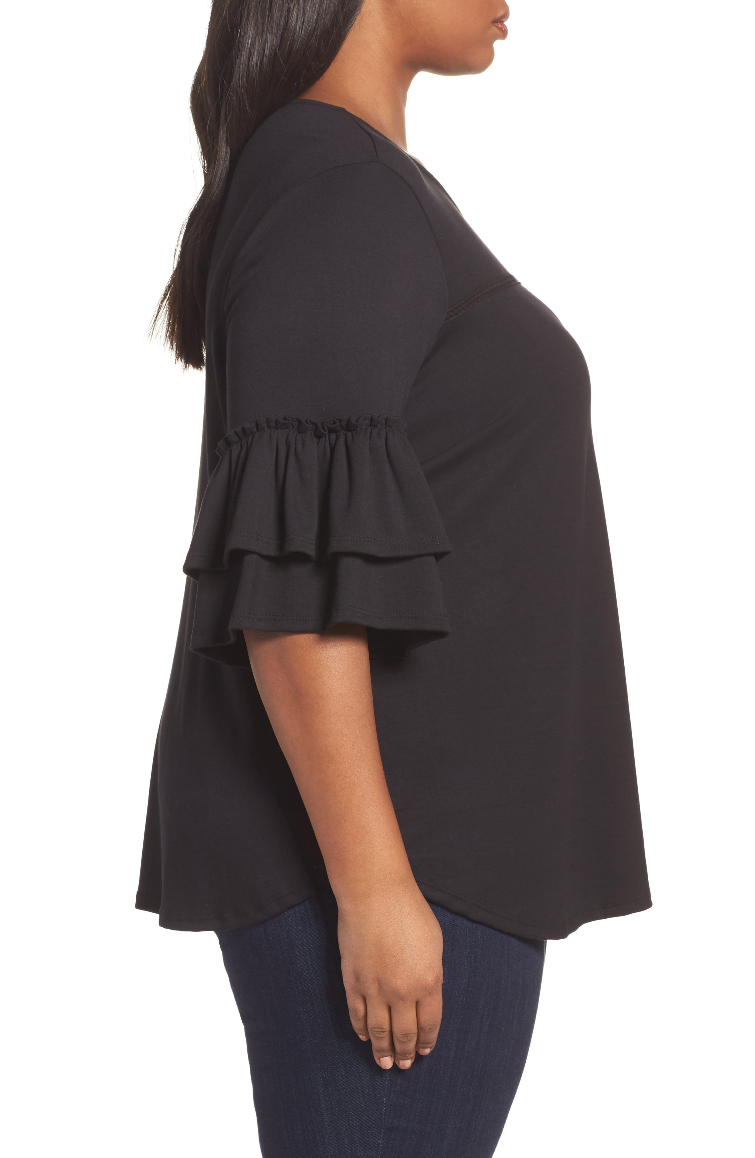 Double Ruffle Sleeve Top,                             Alternate thumbnail 5, color,