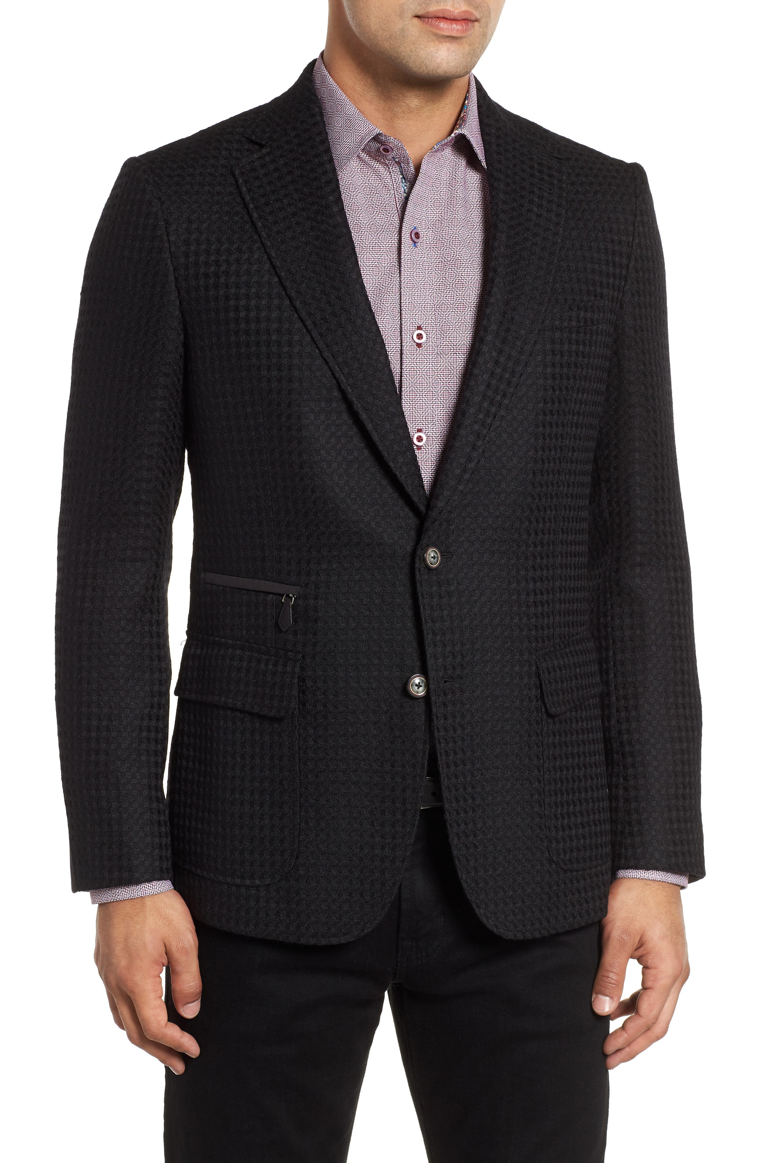 Downhill Tailored Wool Sport Coat,                             Alternate thumbnail 4, color,                             001