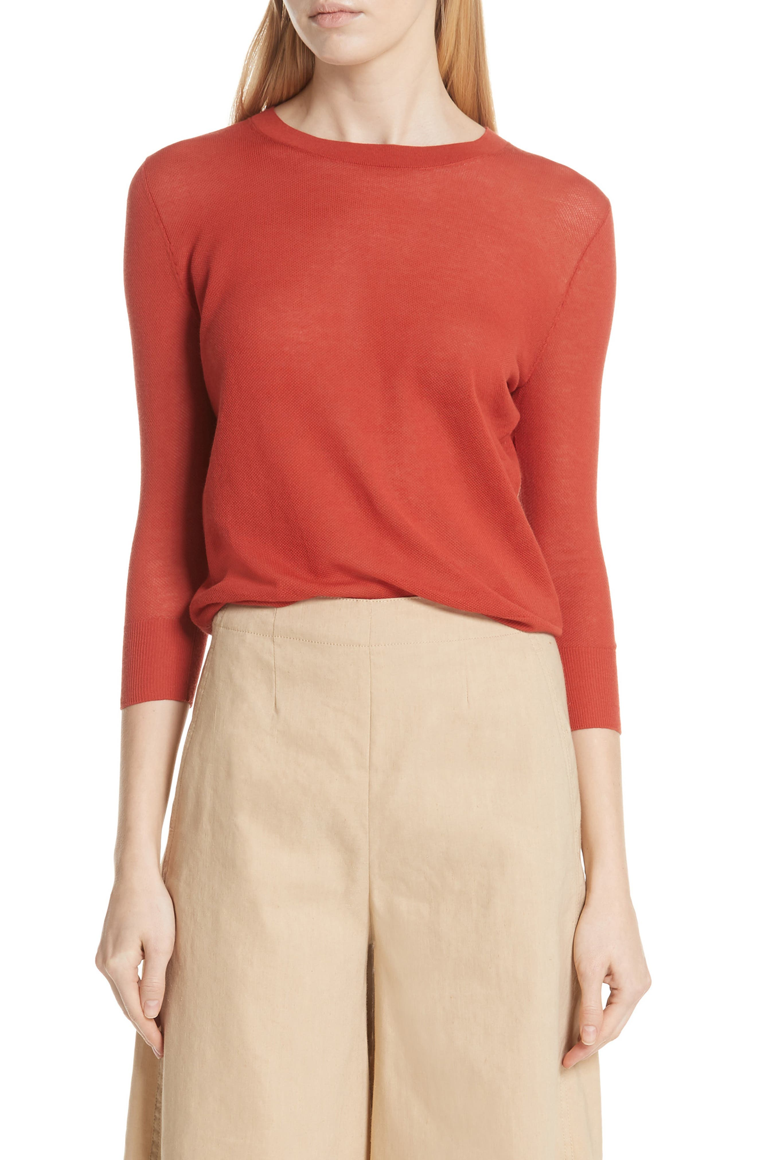 Textured Cotton Pullover Sweater,                             Main thumbnail 1, color,                             PAPRIKA