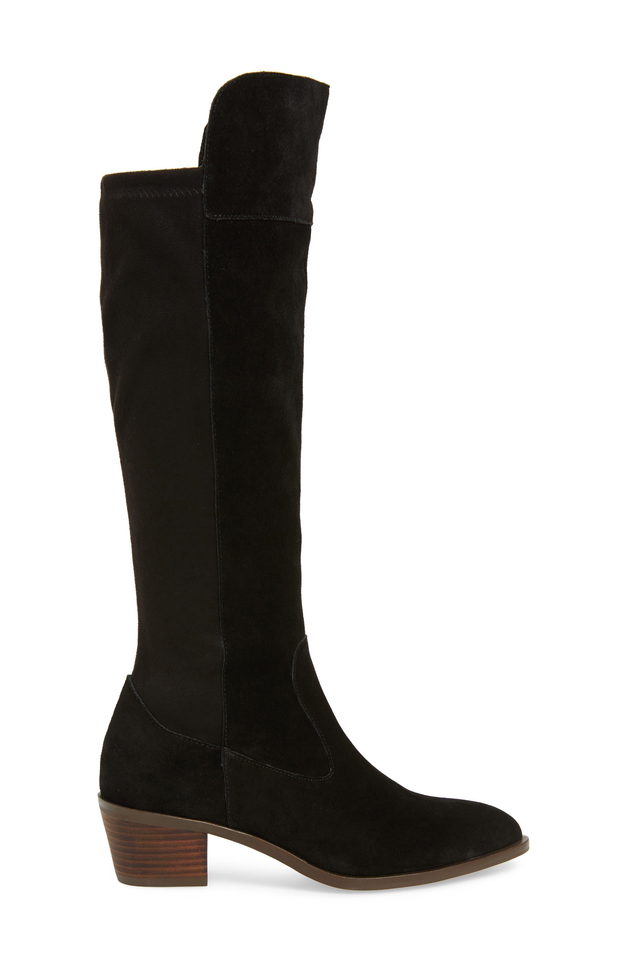 Noamie Knee High Boot,                             Alternate thumbnail 3, color,                             BLACK SUEDE