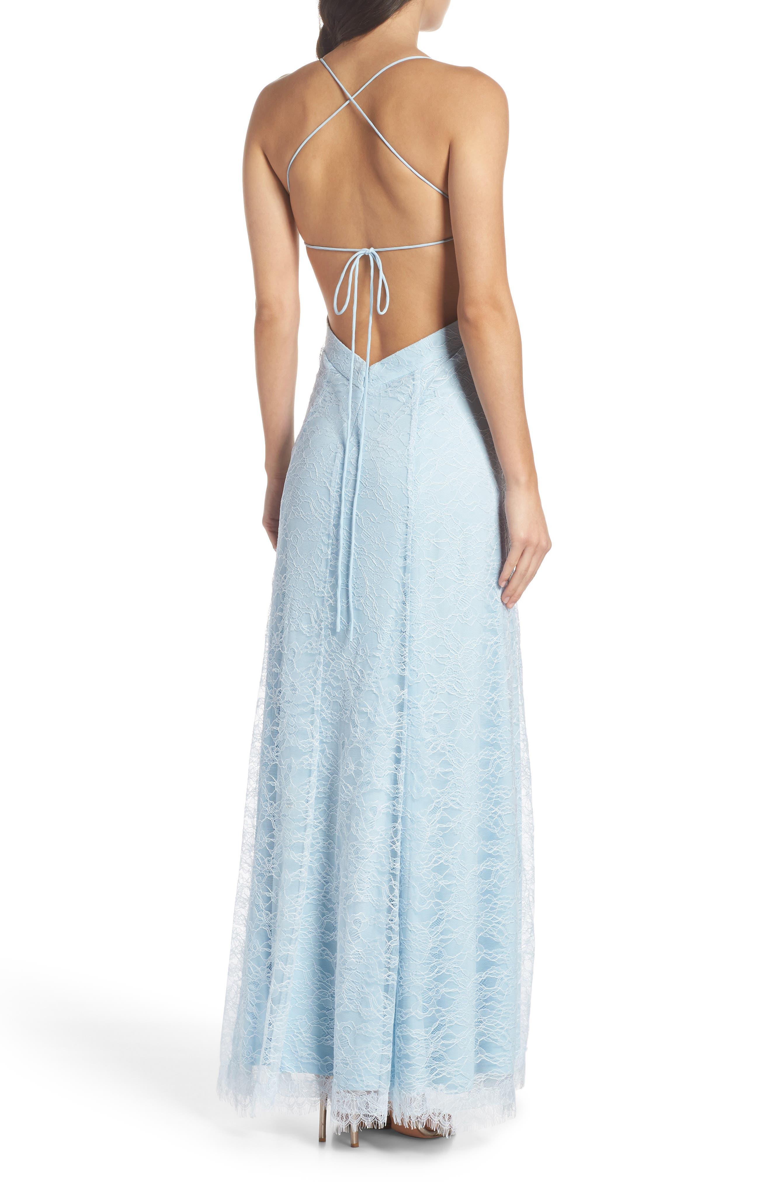The Adella Lace Gown,                             Alternate thumbnail 2, color,                             PALE BLUE