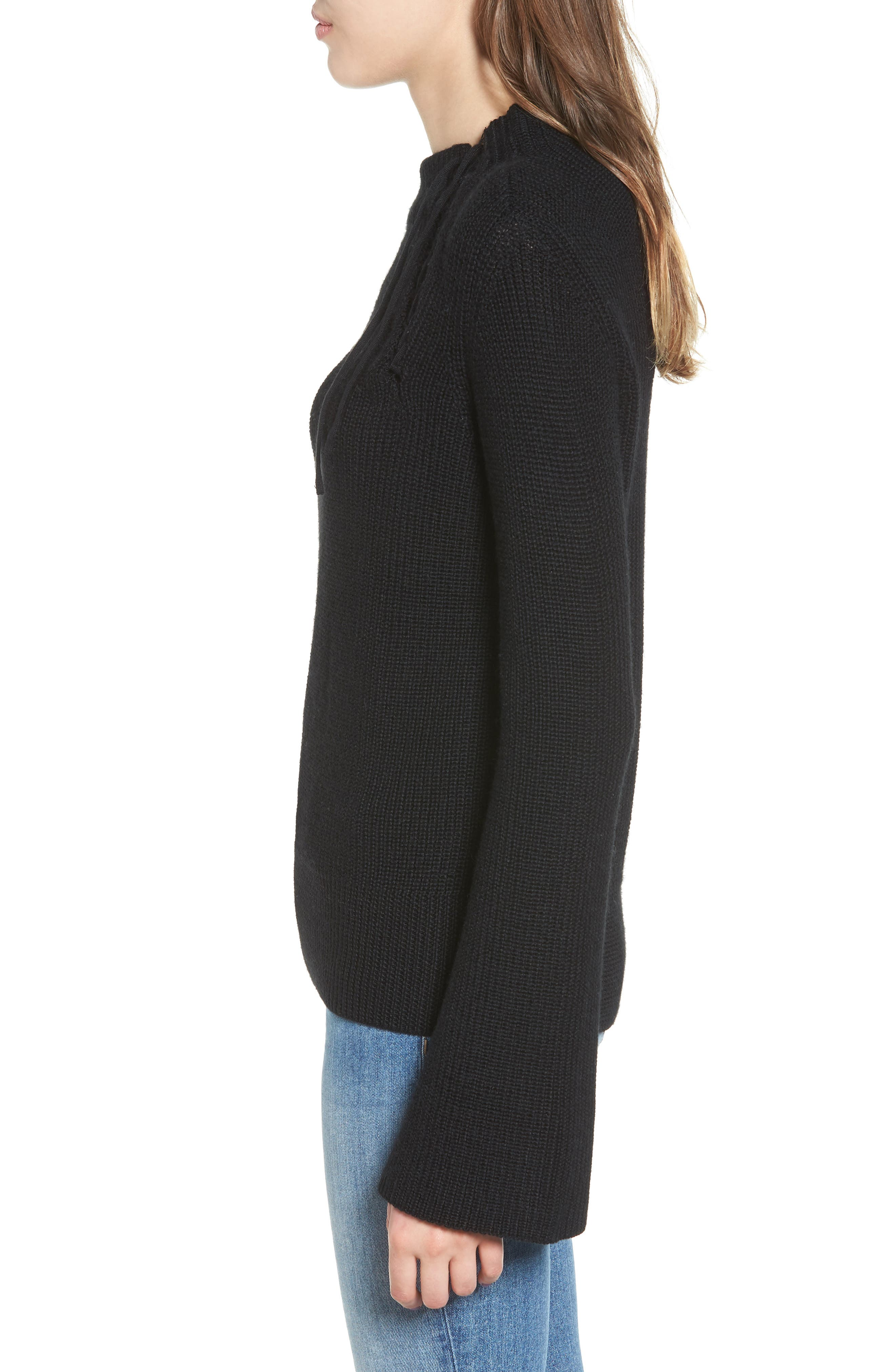 Gracey Mock Neck Sweater,                             Alternate thumbnail 3, color,                             001